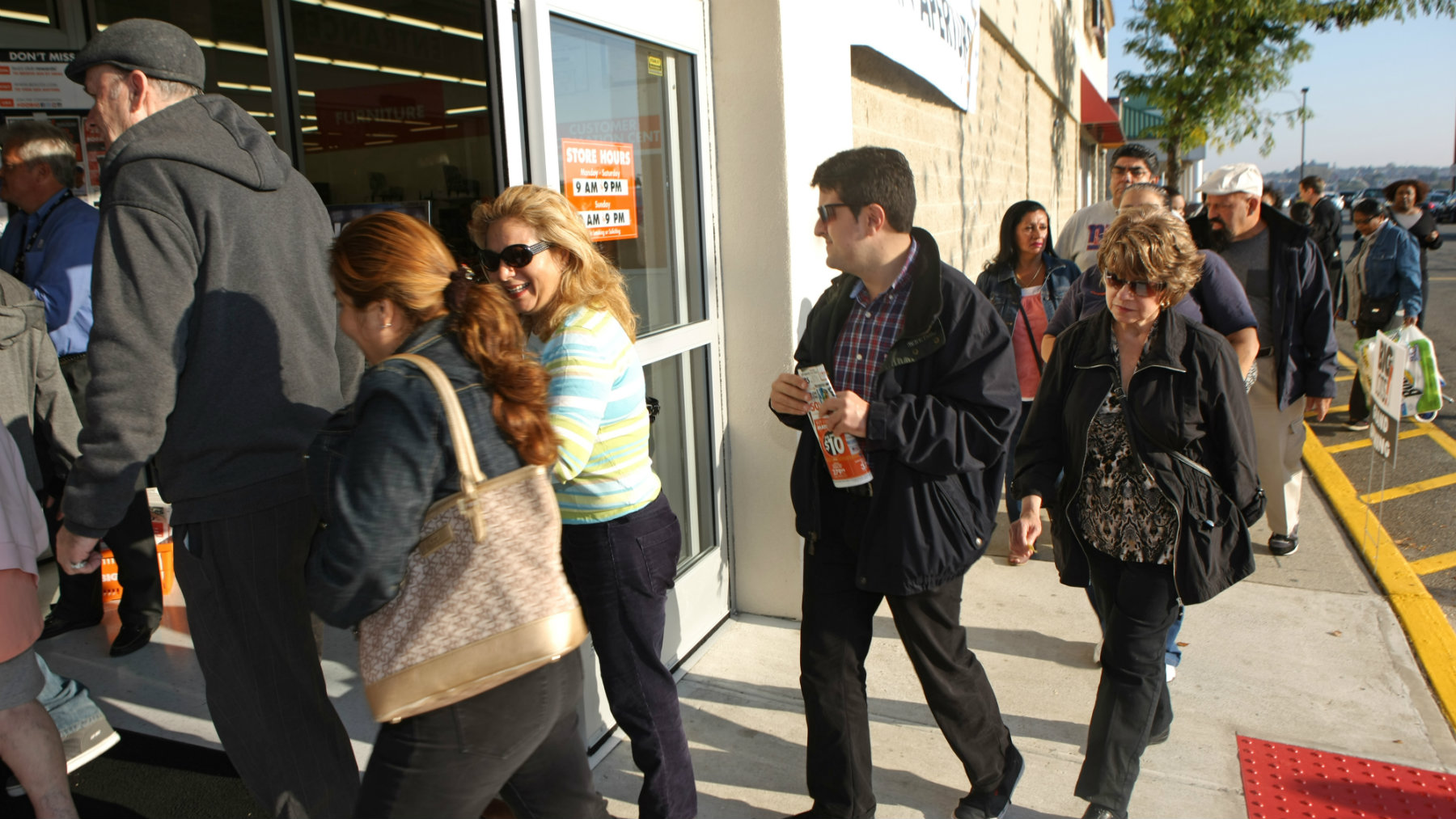 Shoppers enter the new North Bergen Big Lots store during Big Lots Store Opening in North Bergen, New Jersey.