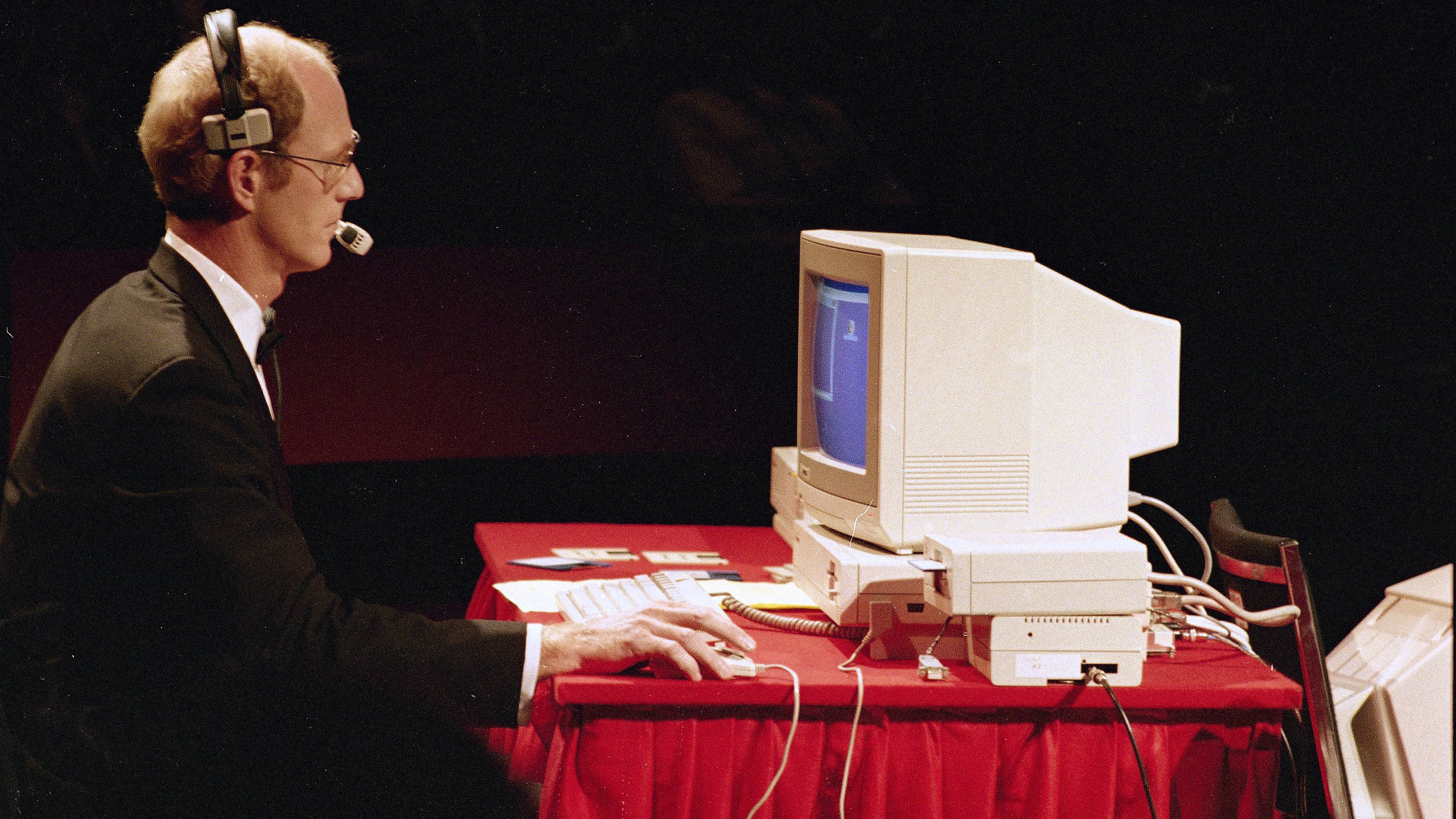 "In New York at Lincoln Center commodore ""Amiga"" computers debuted their new computer photo shows operator running programs on ""Amiga"" during presentation show on July 23, 1985."