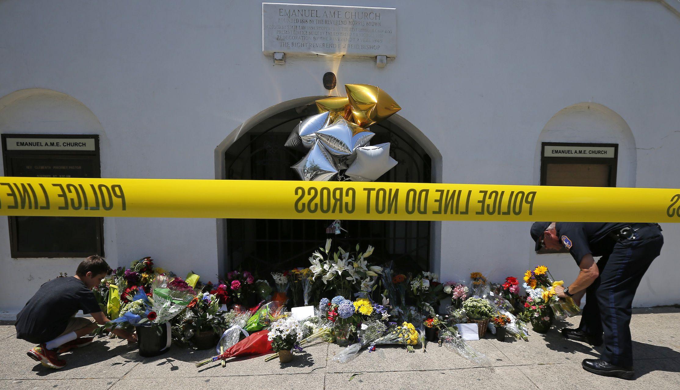 A memorial outside Emanuel African Methodist Episcopal Church in Charleston, South Carolina.