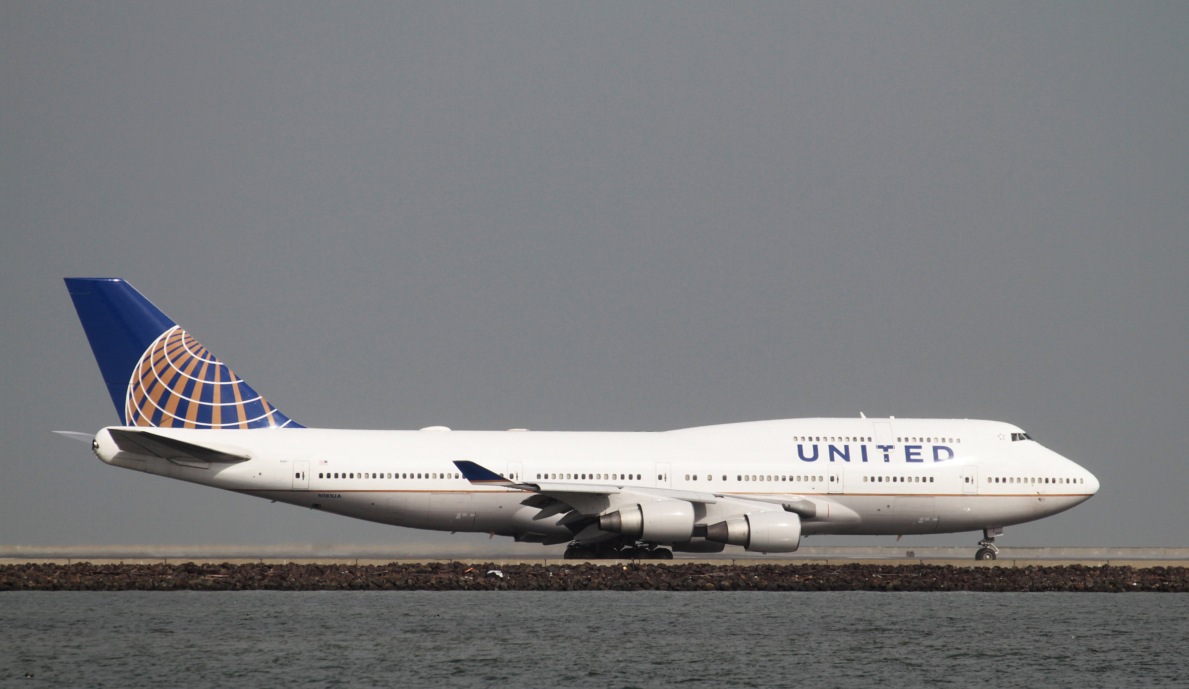 A United Airlines Boeing 747-400 taxis at San Francisco International Airport, San Francisco, California, February 7, 2015.