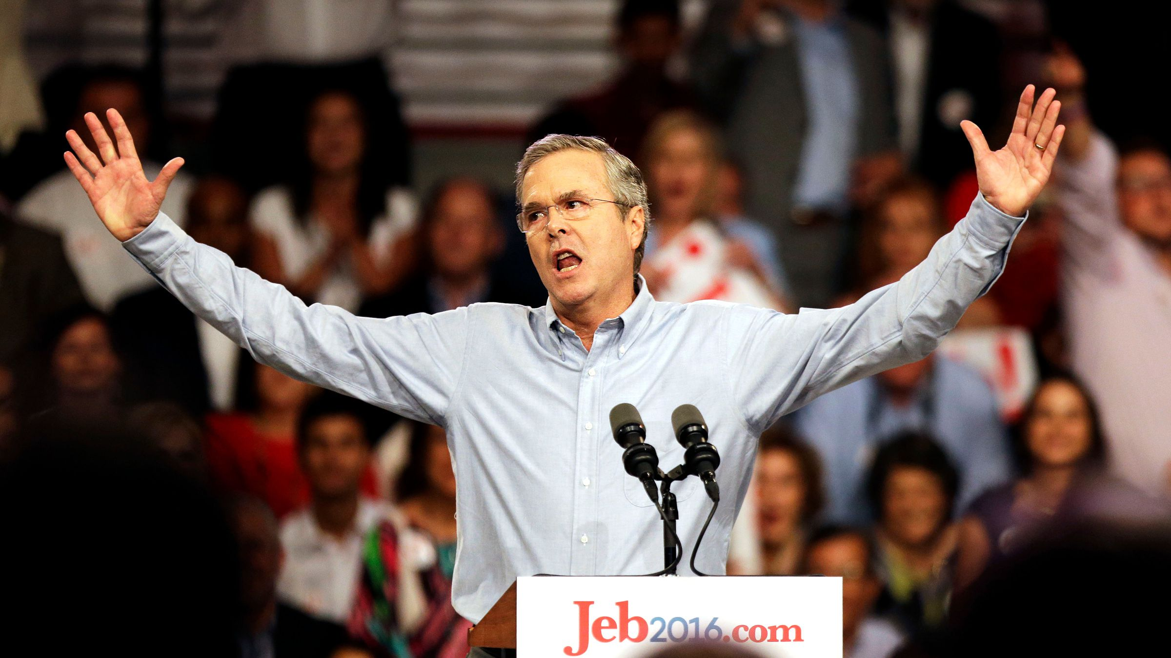 Former Florida Gov. Jeb Bush waves to the crowd as he formally joins the race for president with a speech at Miami Dade College, Monday, June 15, 2015, in Miami.