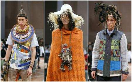 Models present creations by Japanese designer Junya Watanabe during the men's Spring Summer collection fashion shows in Paris on June 26, 2015.