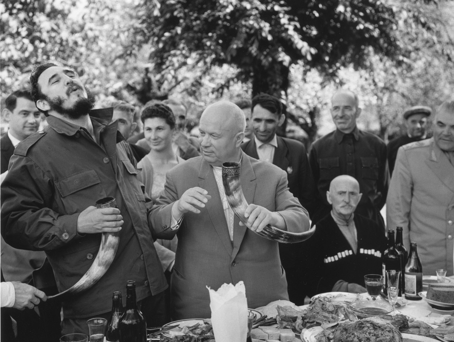 khrushchev and castro at lunch