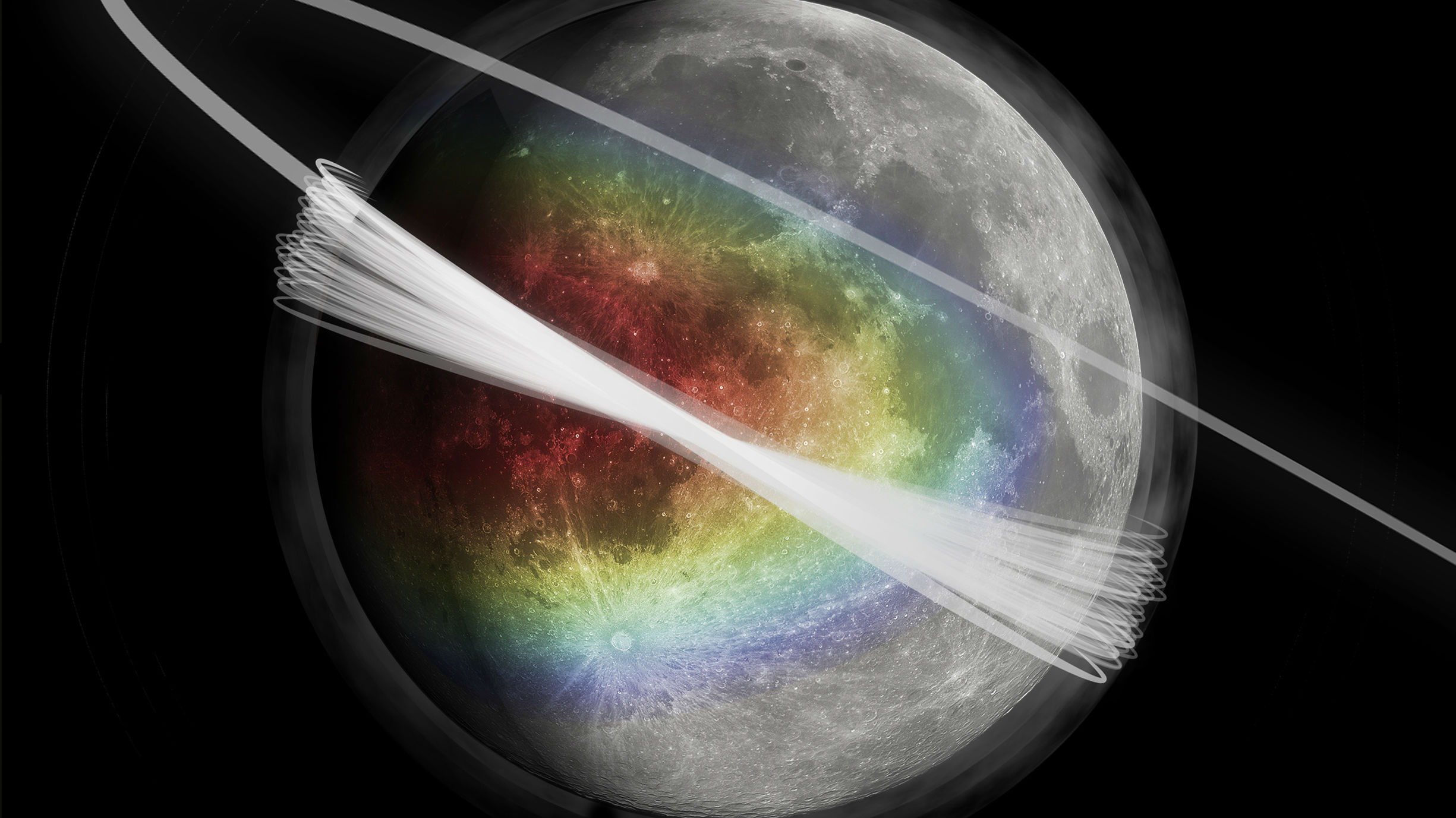 This image shows an artist's conception of the lunar dust exosphere surrounding the Moon. The colour represents the amount of material ejected from the surface, showing a peak in the apex direction. A haze of dust is shown around the Moon. Gray faded circles are overlaid on the lunar surface to represent the random nature of the primary impactors. An artist's conception of the spacecraft (LADEE) trajectory is also shown.
