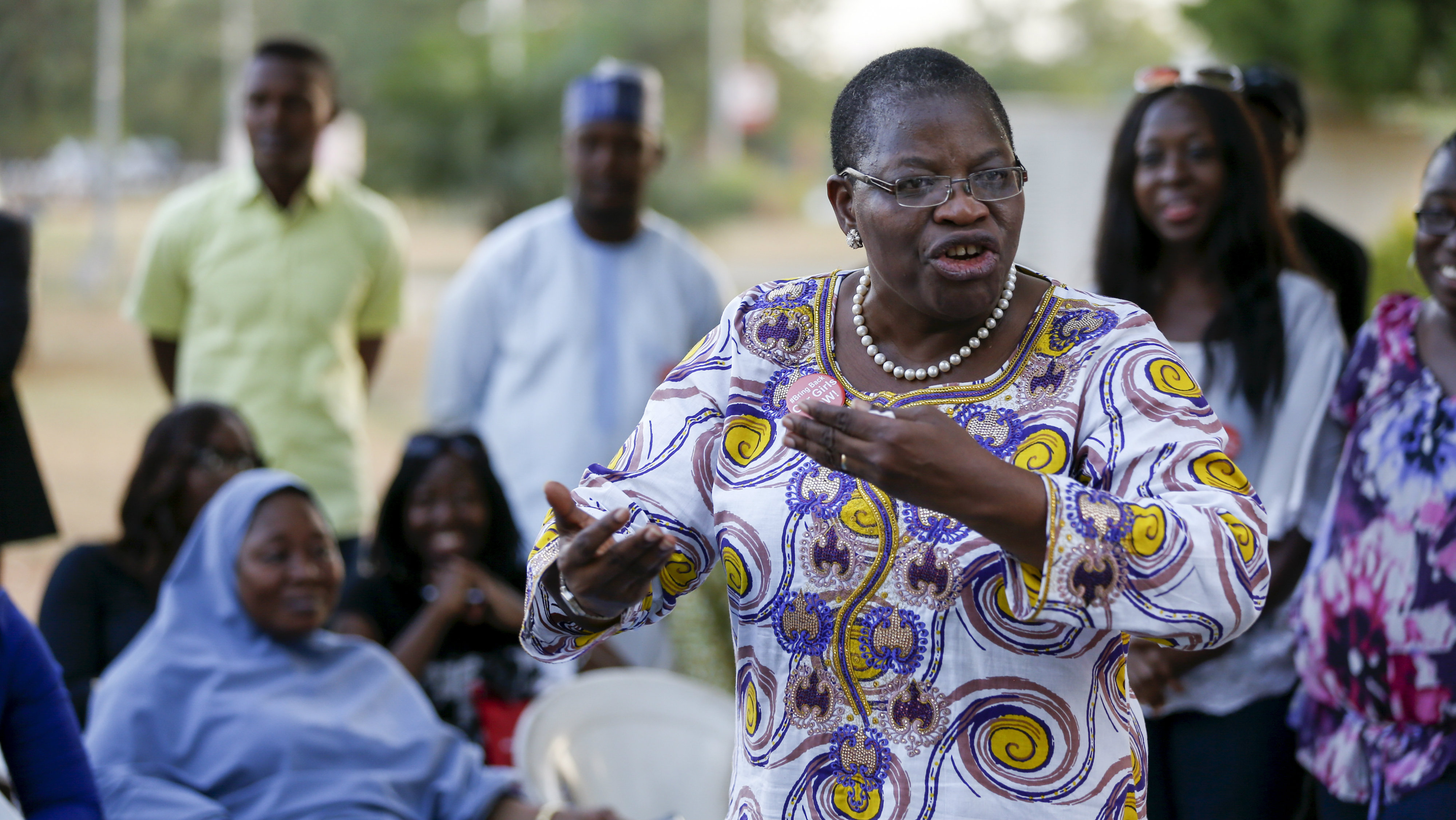 Dr Oby Ezekwesili expresses support about the rescue of some women and girls from Sambisa forest while a Nigerian protest group continues their sit-in about the girls that are still missing from Chibok, in Abuja, Nigeria April 29, 2015. Nigeria's military said on Wednesday it had transported nearly 300 women and girls rescued from Boko Haram to the hilly border town of Gwoza. The 200 girls and 93 women were freed from four camps during an army operation in northeastern Borno province as the Nigeria military bears down on what are believed to be Boko Haram's final strongholds in the Sambisa forest. The military said on Tuesday initial enquiries suggested the freed women did not include roughly 200 missing schoolgirls seized a year ago from the northern village of Chibok, whose capture drew global attention to the insurgency in Nigeria. REUTERS/Afolabi Sotunde