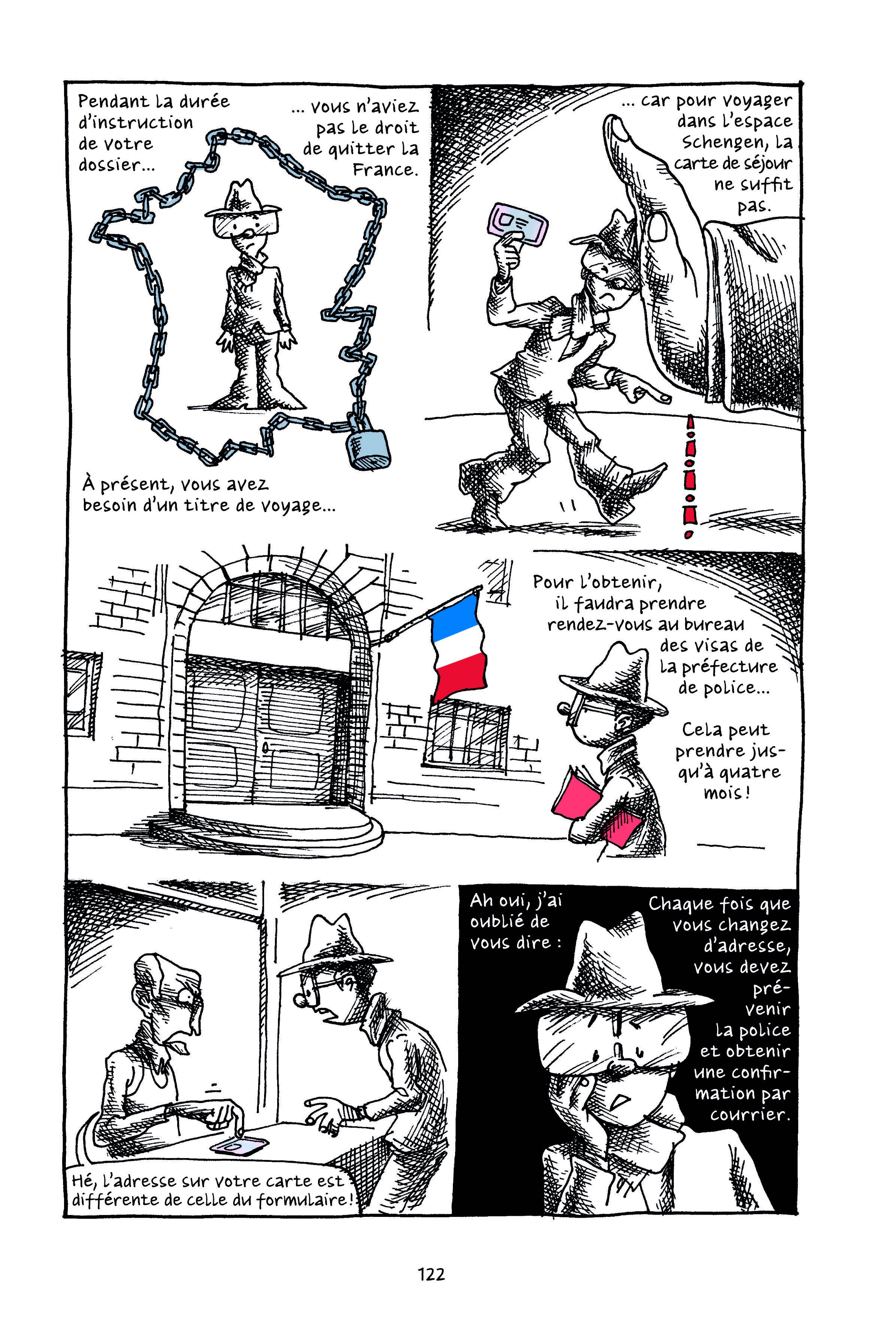 "Petit manuel to parfait réfugié politique (""A short guide to being the perfect political refugee,"" Page 122"