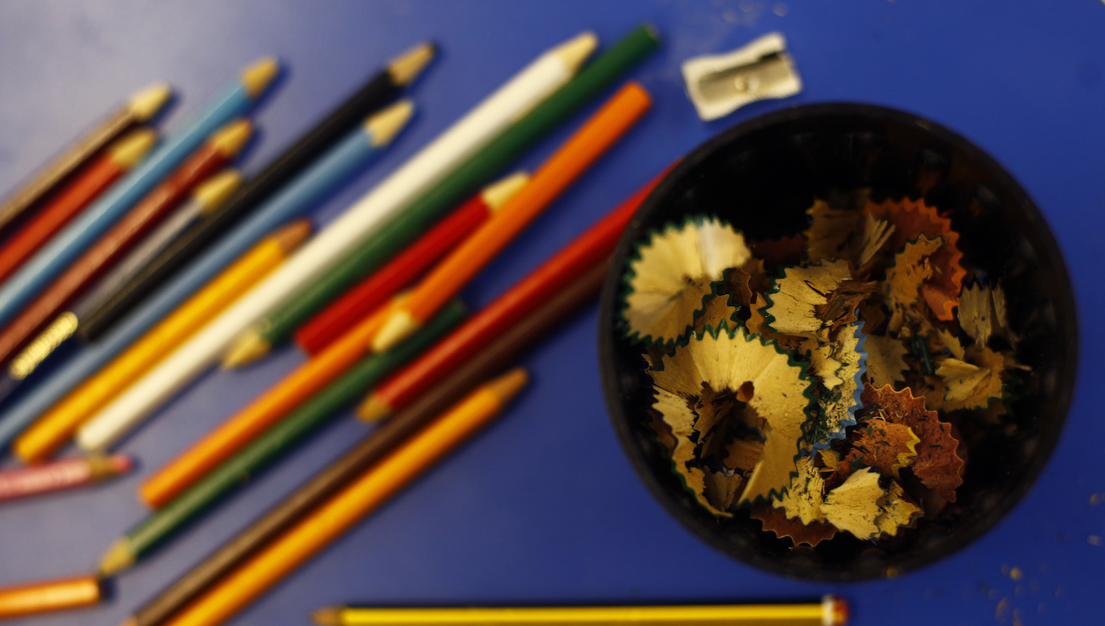 Pencils and pencil shavings are seen on a desk at Watlington  Primary School in Watlington, southern England