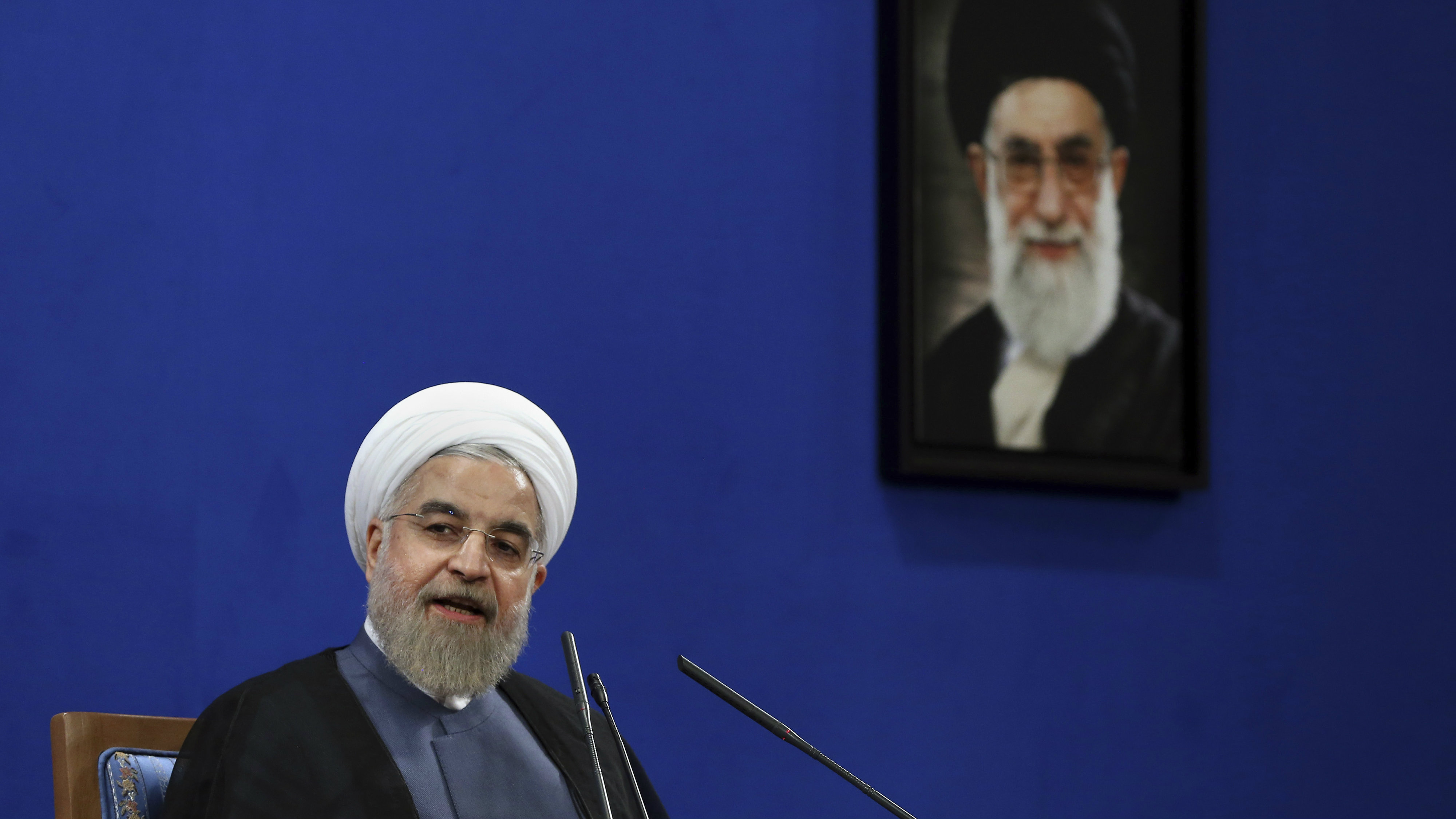ranian President Hassan Rouhani speaks during a press conference on the second anniversary of his election, in Tehran, Iran, Saturday, June 13, 2015.