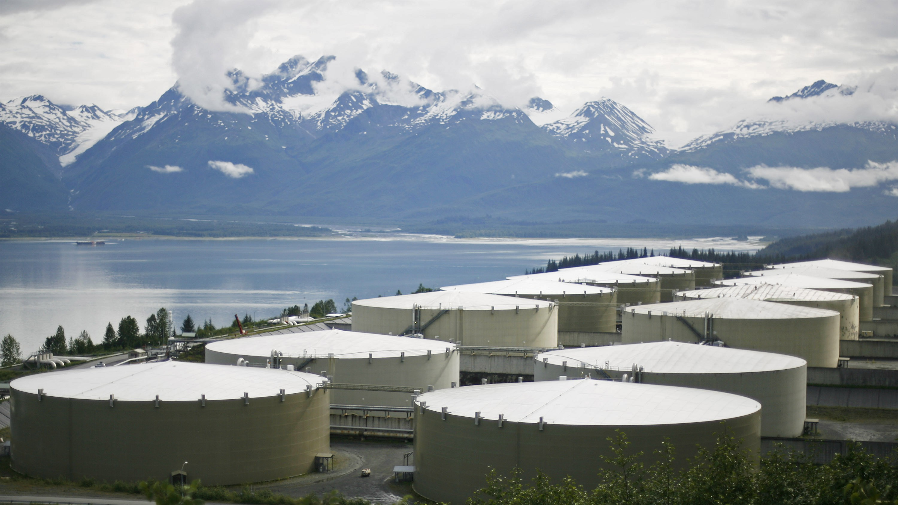 A field of 14 storage tanks that each hold 510,000bbls of oil can be seen at the Trans-Alaska Pipeline Marine Terminal in Valdez, Alaska on August 8, 2008.