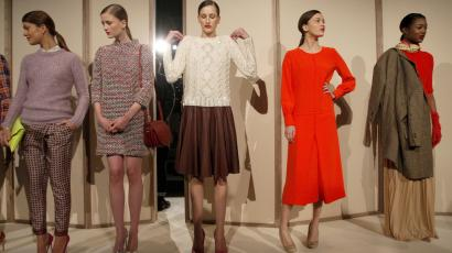Models present creations from the J.Crew Fall/Winter 2012 collection during New York Fashion Week February 14, 2012.
