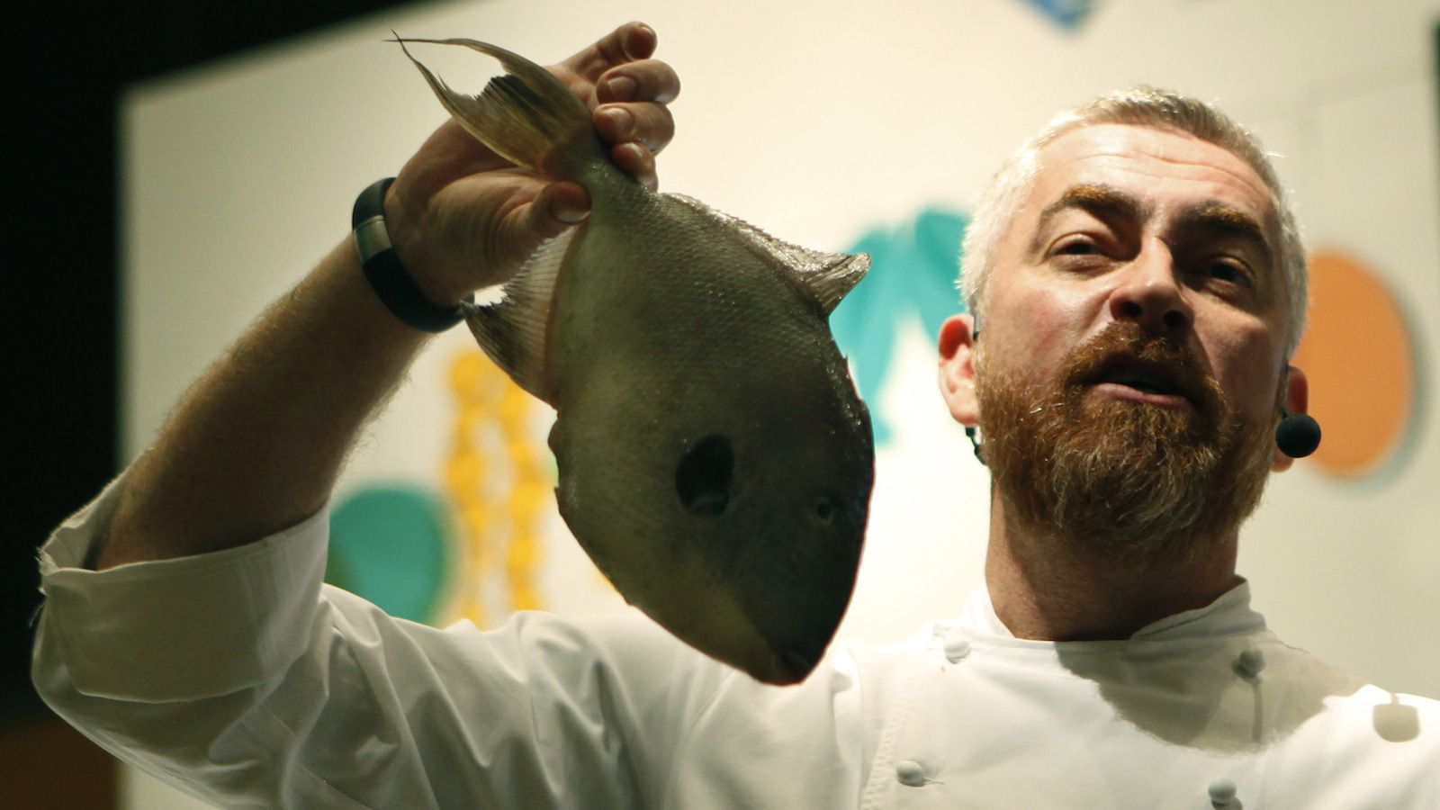 Brazilian chef Atala holds a fish while giving cooking lessons during the sixth Paladar Brazilian Kitchen event in Sao Paulo
