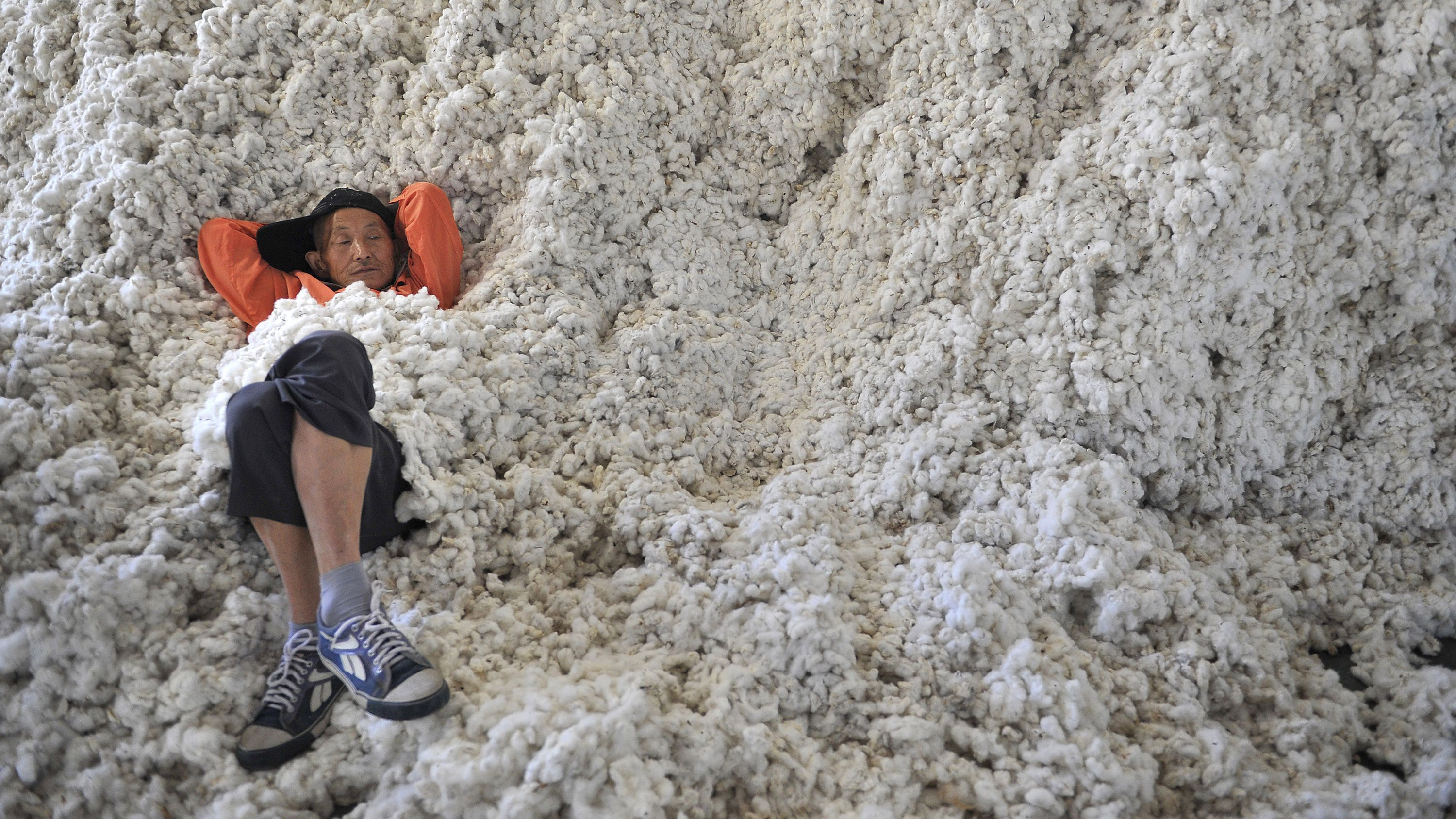A worker rests on piles of cotton at a ginning factory in Wuhu, Anhui province, October 4, 2013. China, the world's top wheat and rice consumer, will issue low-tariff import quotas for key grains and cotton in 2014 at the same level as it allocated this year, keeping a lid on imports of lower-priced overseas imports, the National Development and Reform Commission (NDRC) said on Friday.