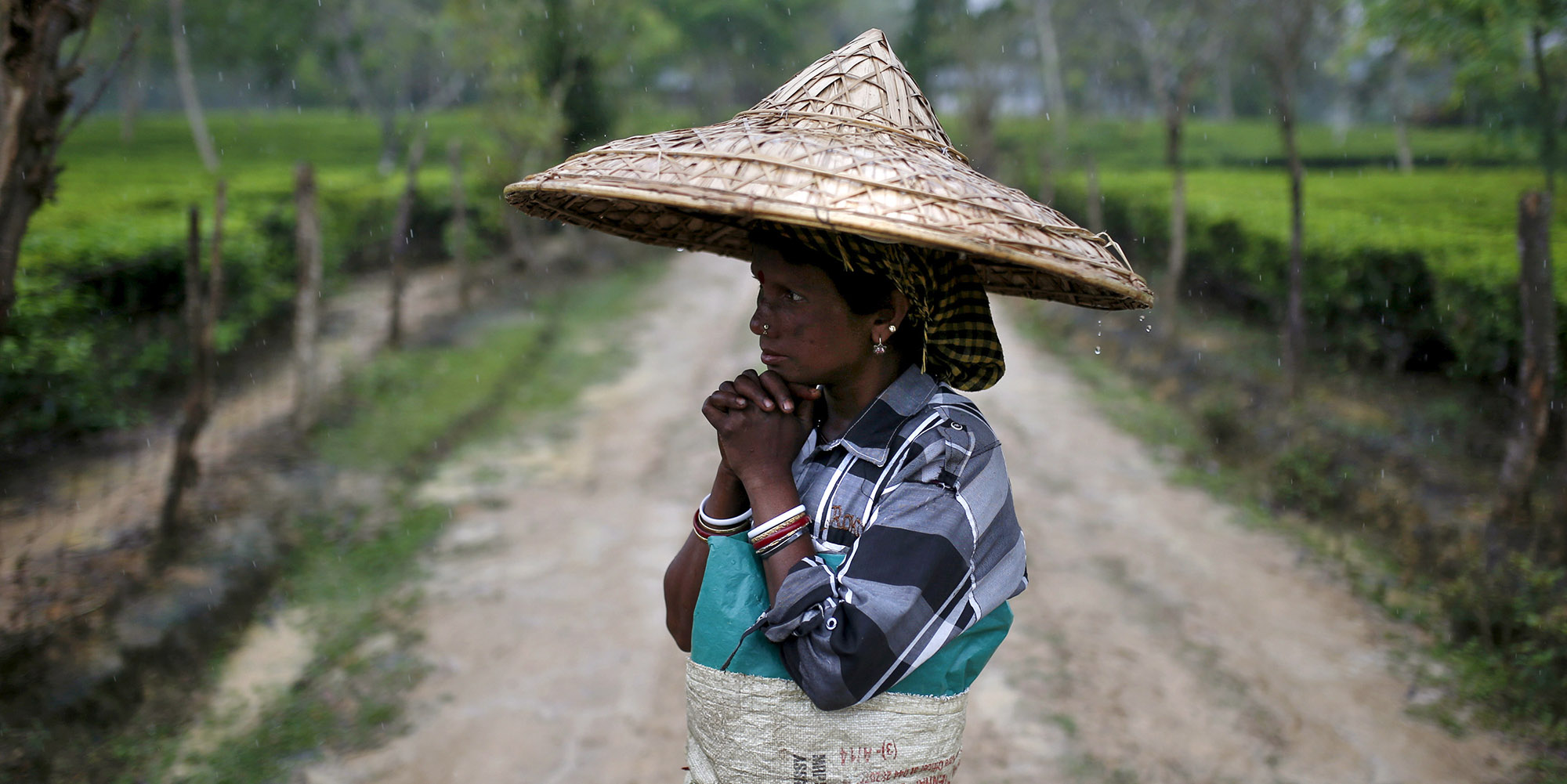 A tea garden worker wearing a jappi hat made out of bamboo and palm leaves waits for the rain to stop to resume her work inside Aideobarie Tea Estate in Jorhat in Assam, India, April 21, 2015. Unrest is brewing among Assam's so-called Tea Tribes as changing weather patterns upset the economics of the industry. Scientists say climate change is to blame for uneven rainfall that is cutting yields and lifting costs for tea firms.