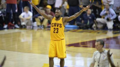 May 24, 2015; Cleveland, OH, USA; Cleveland Cavaliers forward LeBron James (23) celebrates against the Atlanta Hawks in game three of the Eastern Conference Finals of the NBA Playoffs at Quicken Loans Arena.