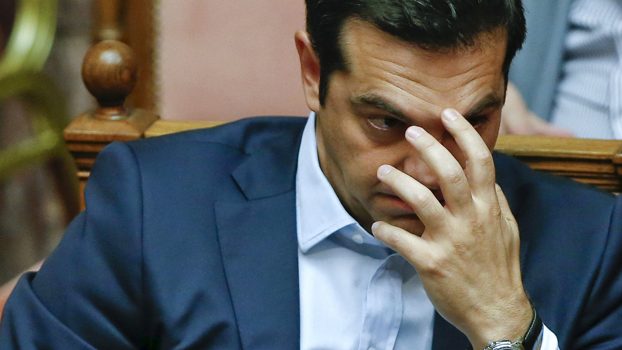 Greek Prime Minister Alexis Tsipras gestures during a parliamentary session in Athens, Greece June 28, 2015.