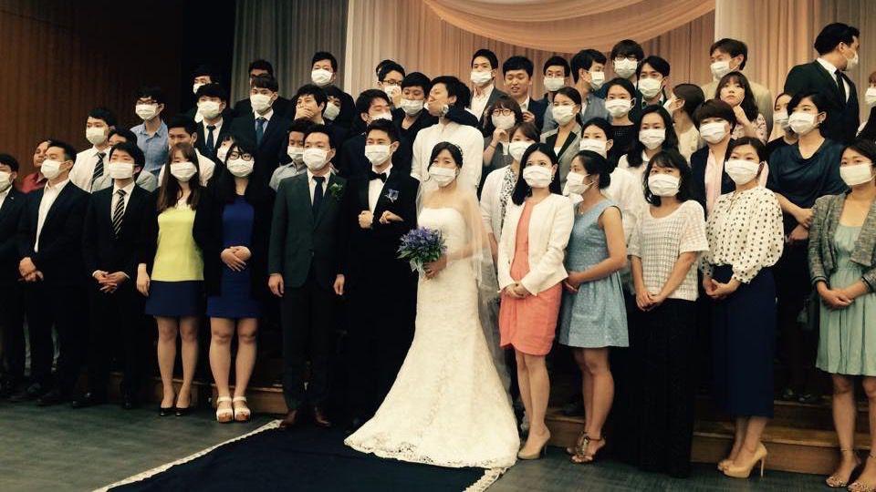 south korea wedding with mers masks