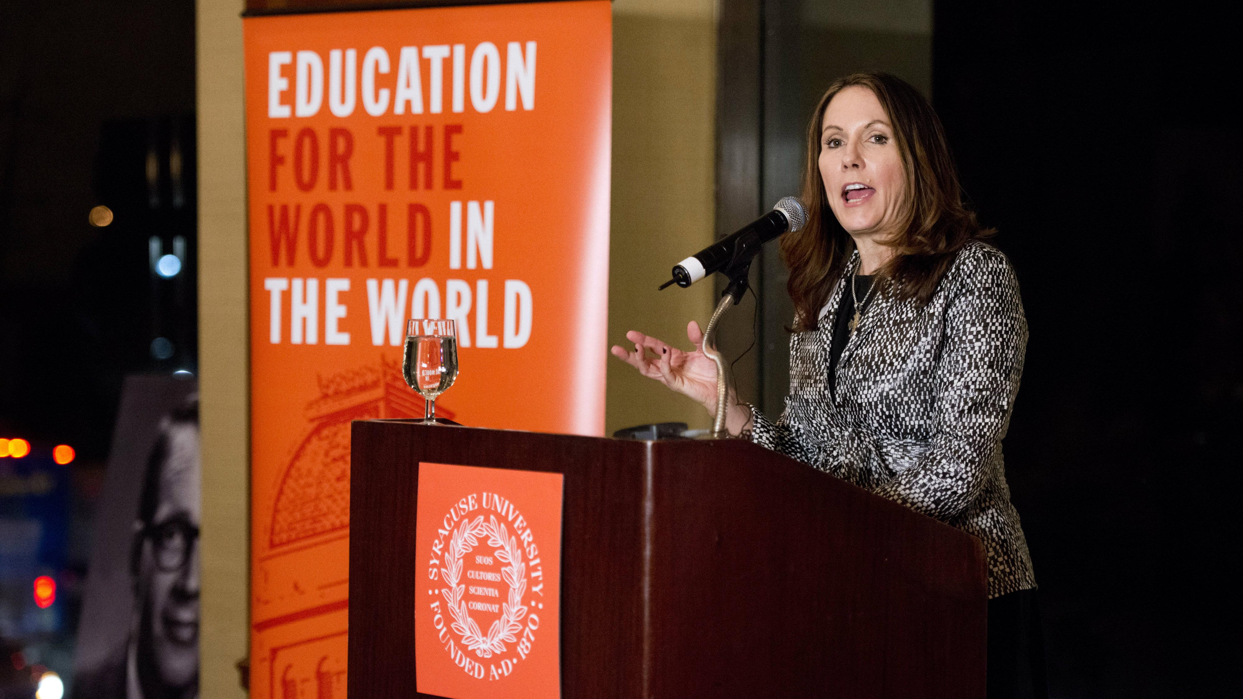Syracuse University faculty member and author Mary Karr speaks at the university's creative writing program celebration, on Nov. 15, 2012, in New York.