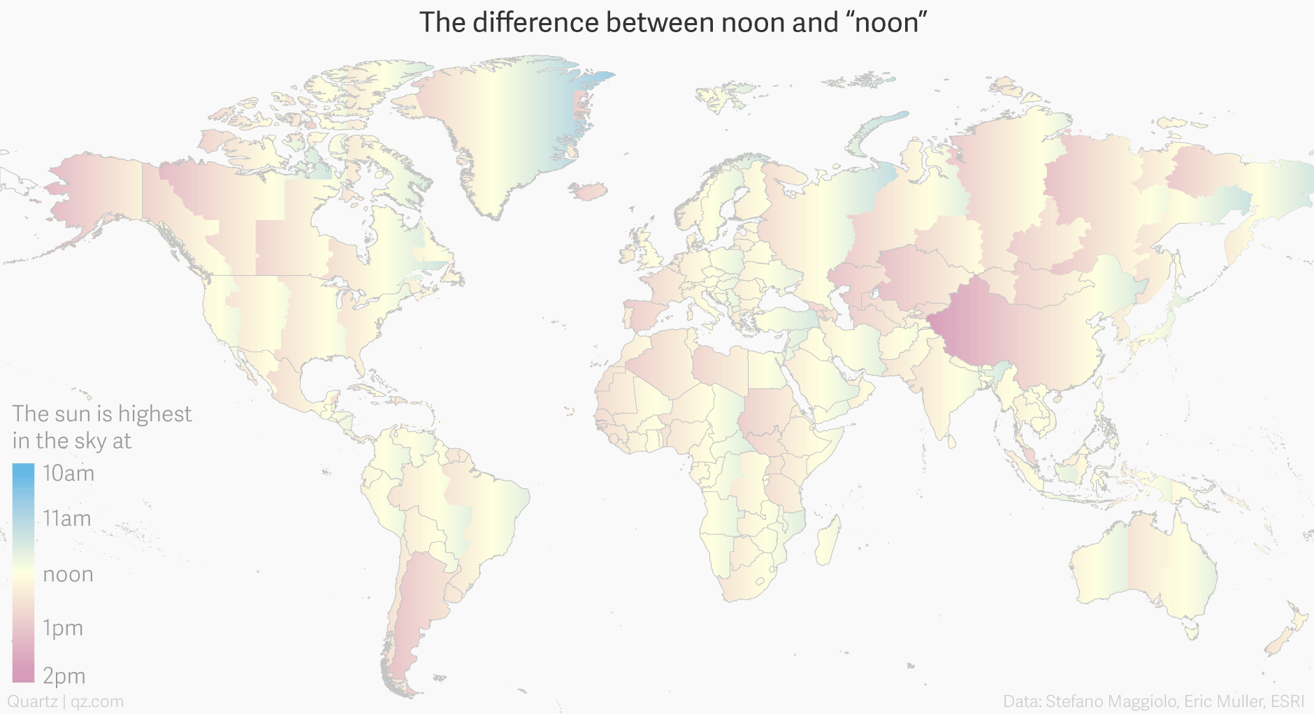 Map of how much solar noon differs from local clock noon around the world