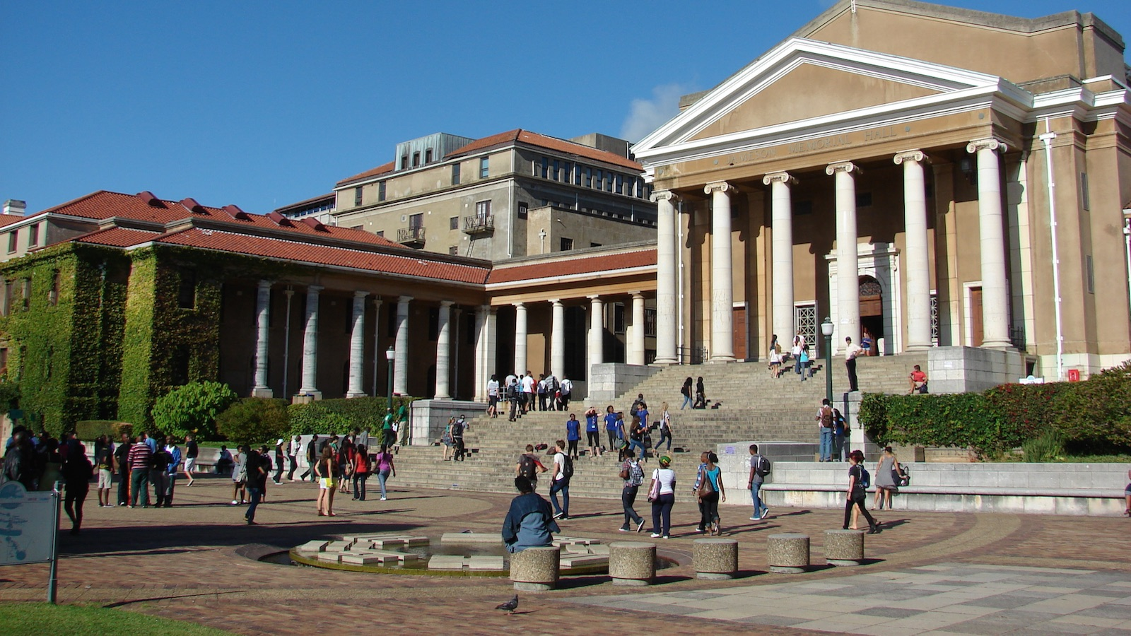 Students walk to class outside Jameson Hall at the University of Cape Town, South Africa.