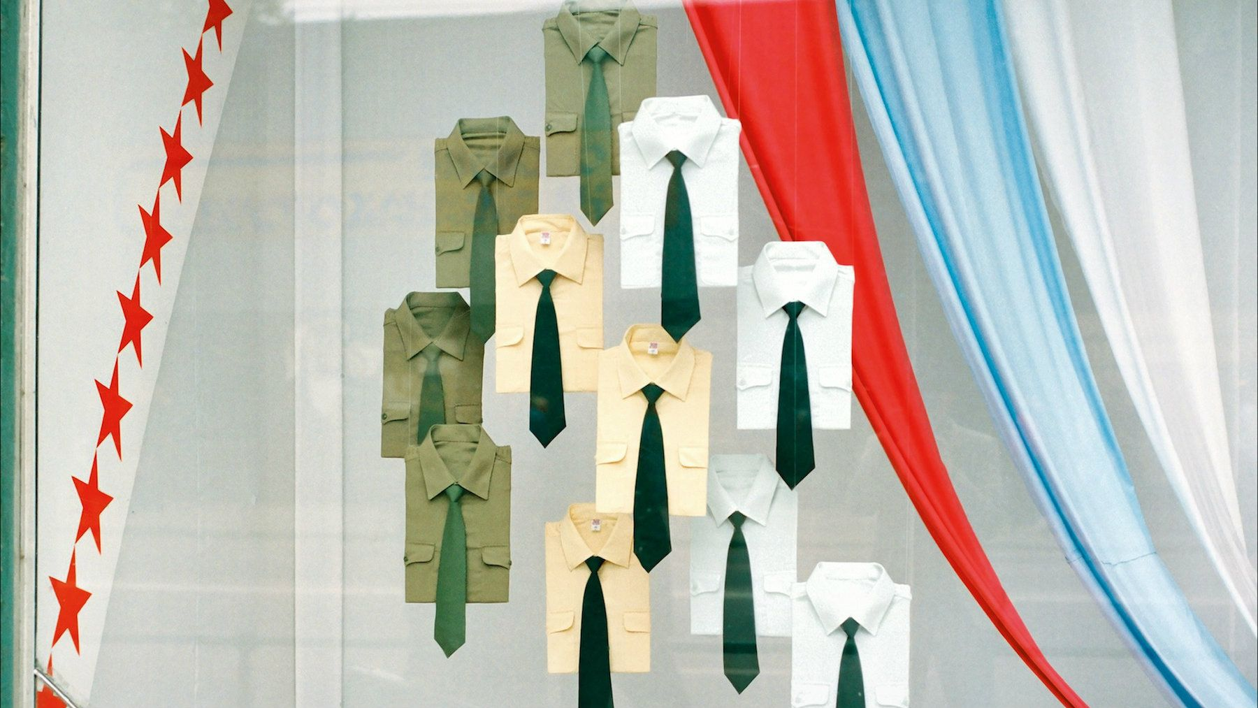 Military shirts on sale in Moscow, 1990.