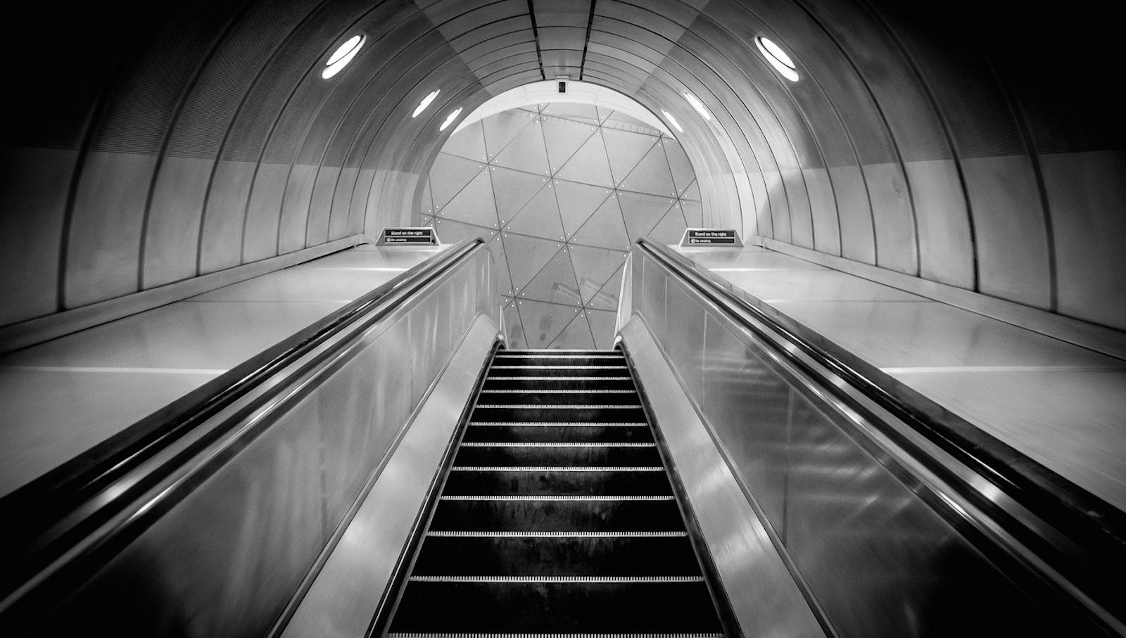 Empty escalator