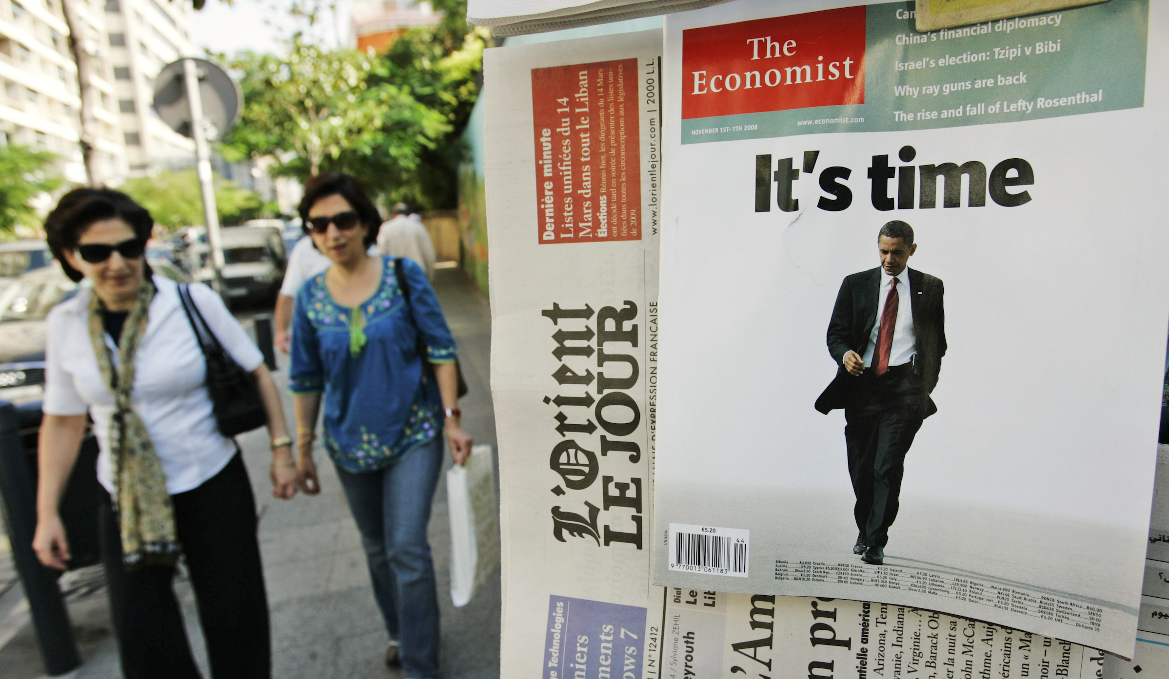 U.S. Presidential candidate Sen. Barack Obama is seen on the cover of The Economist magazine, on display at a kiosk in the Hamra district, Beirut, Lebanon, Tuesday, Nov. 4, 2008. The race for the White House is attracting huge media coverage in Lebanon, as the long race for the White House nears its end on Tuesday. (AP Photo/Hussein Malla)