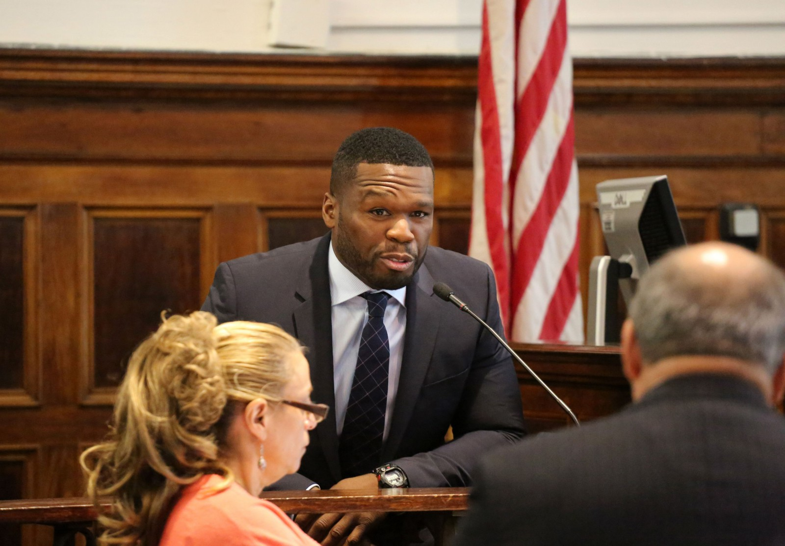 Curtis Jackson, aka 50 Cent, appears in Manhattan Supreme Court on Tuesday, July 21, 2015 in New York to testify in a lawsuit about a sex tape he allegedly posted online. (Jefferson Siegel/New York Daily News/POOL)