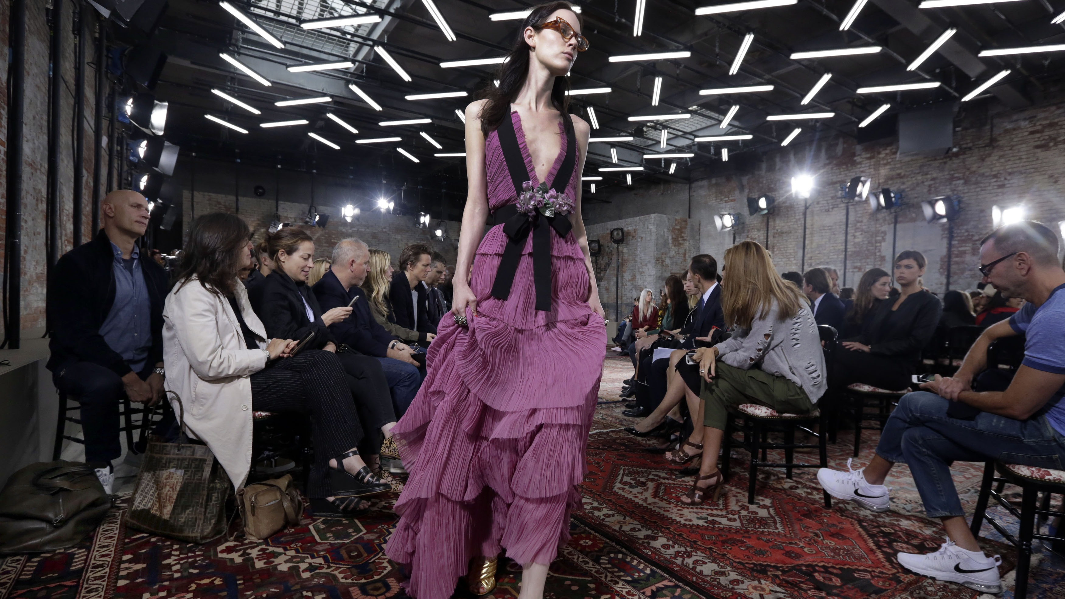 The Gucci cruise wear collection is modeled in New York, Thursday, June 4, 2015. Gucci's new creative director Alessandro Michele put on a whimsical, eclectic show Thursday for his first resort collection.