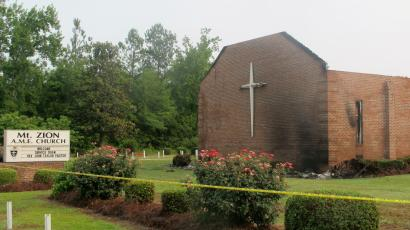 A lightning is suspected of causing fire at Mount Zion African Methodist Episcopal Church