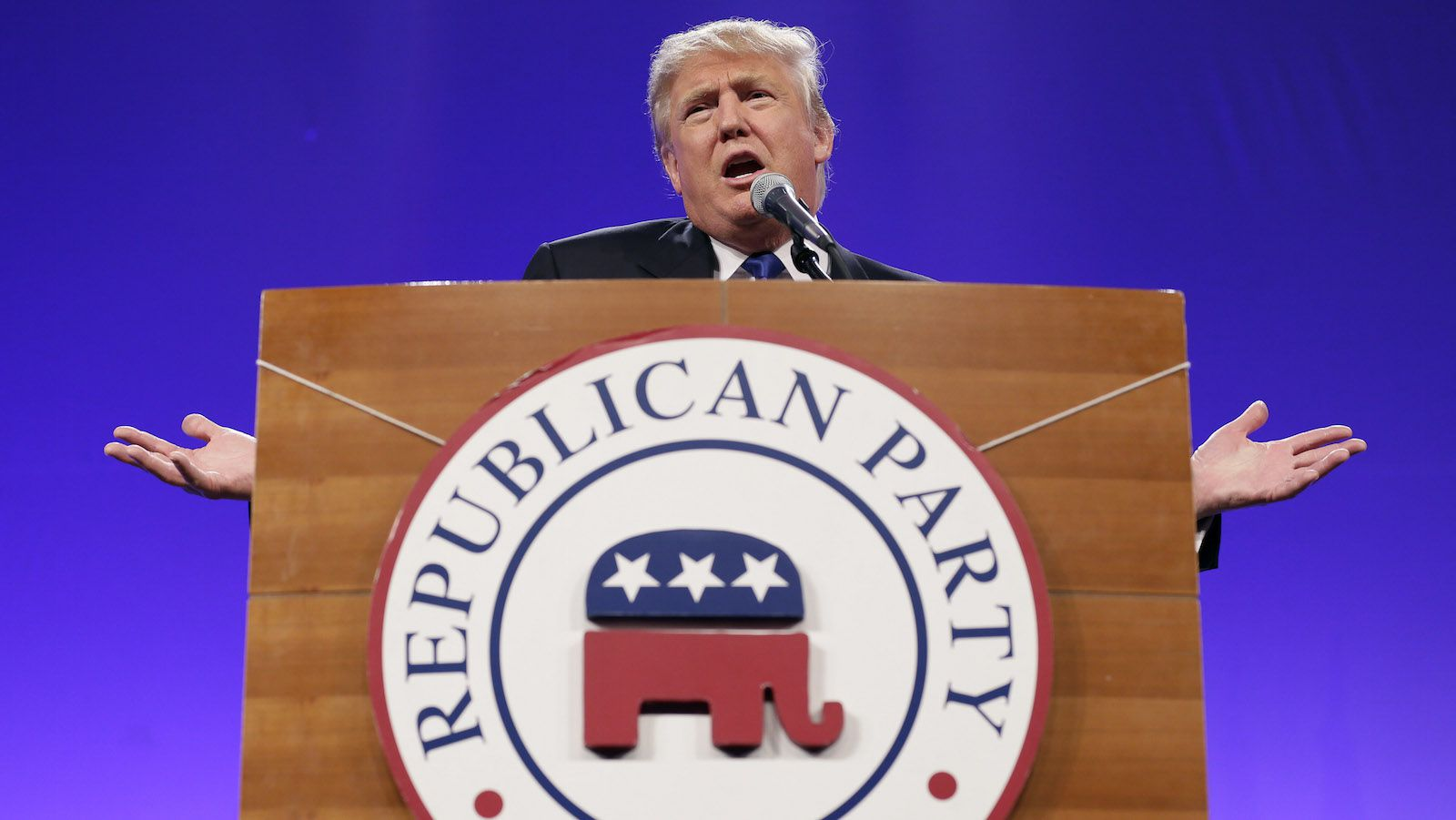 Donald Trump speaks during the Iowa Republican Party's Lincoln Dinner, Saturday, May 16, 2015, in Des Moines, Iowa.