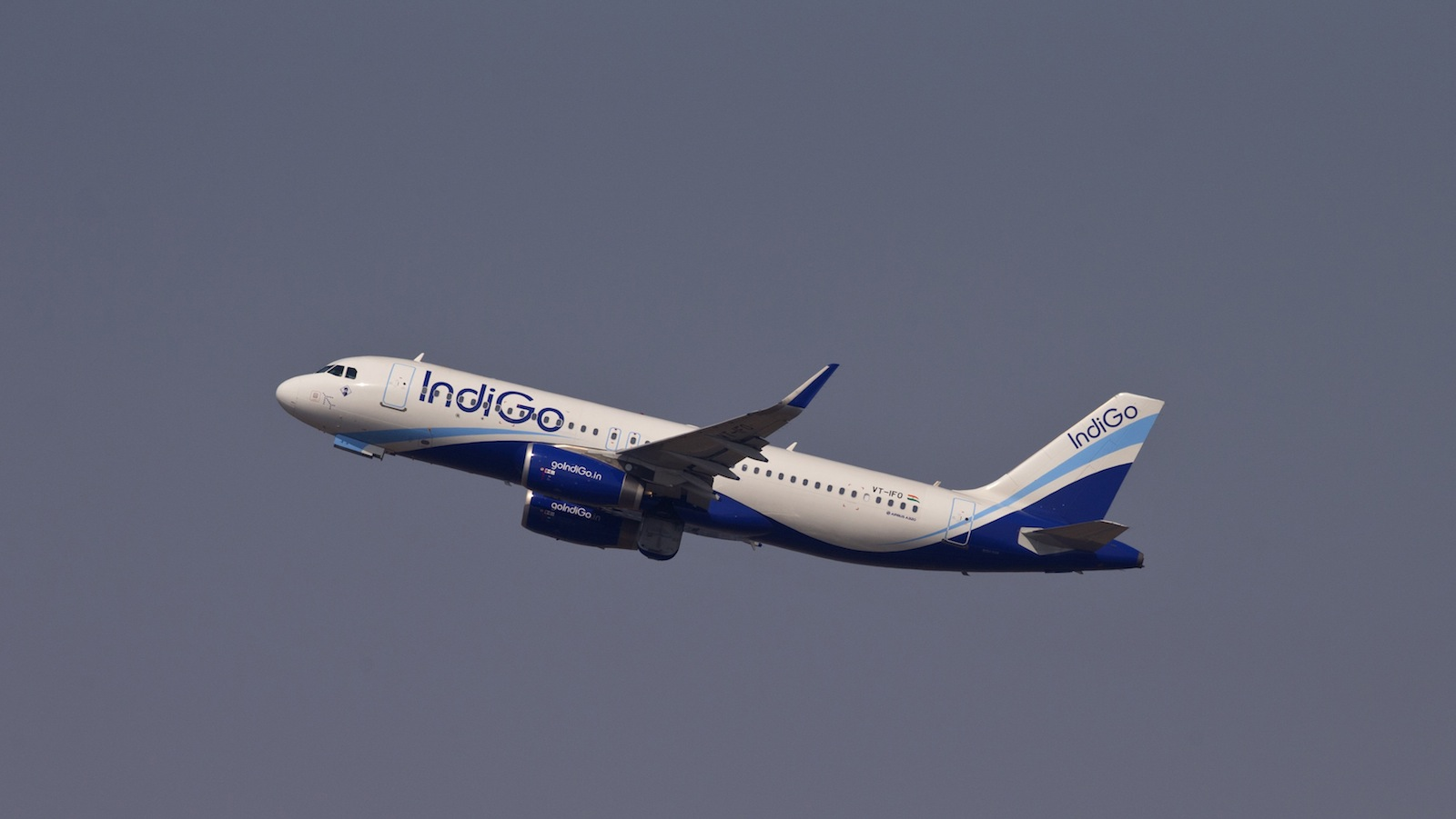 An Airbus A320 from IndiGo airlines takes off from the Indira Gandhi international airport in New Delhi, India, Thursday, Oct. 16, 2014. Indian budget airline IndiGo has signed a preliminary order with Airbus for 250 A320neo Family aircraft. Airbus said on Wednesday that the memorandum of understanding with IndiGo, India's largest domestic airline, will become Airbus' single largest order - ever - by number of aircraft.