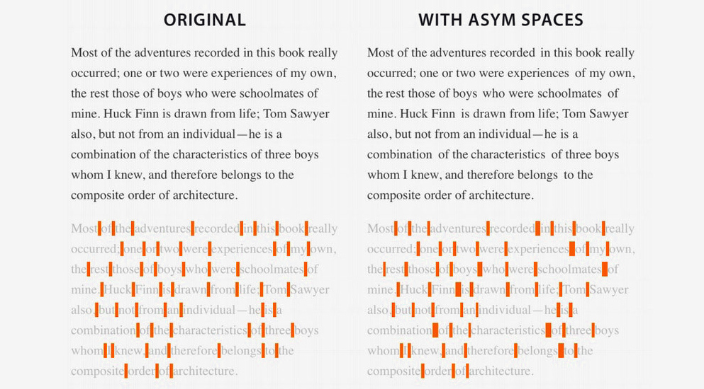 Asymmetrica adds extra spaces to website text to help improve