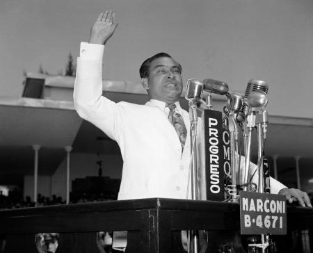 President Fulgencio Batista of Cuba speaks to his troops the day after an attempted coup against his government in Havana, in July, 1953.