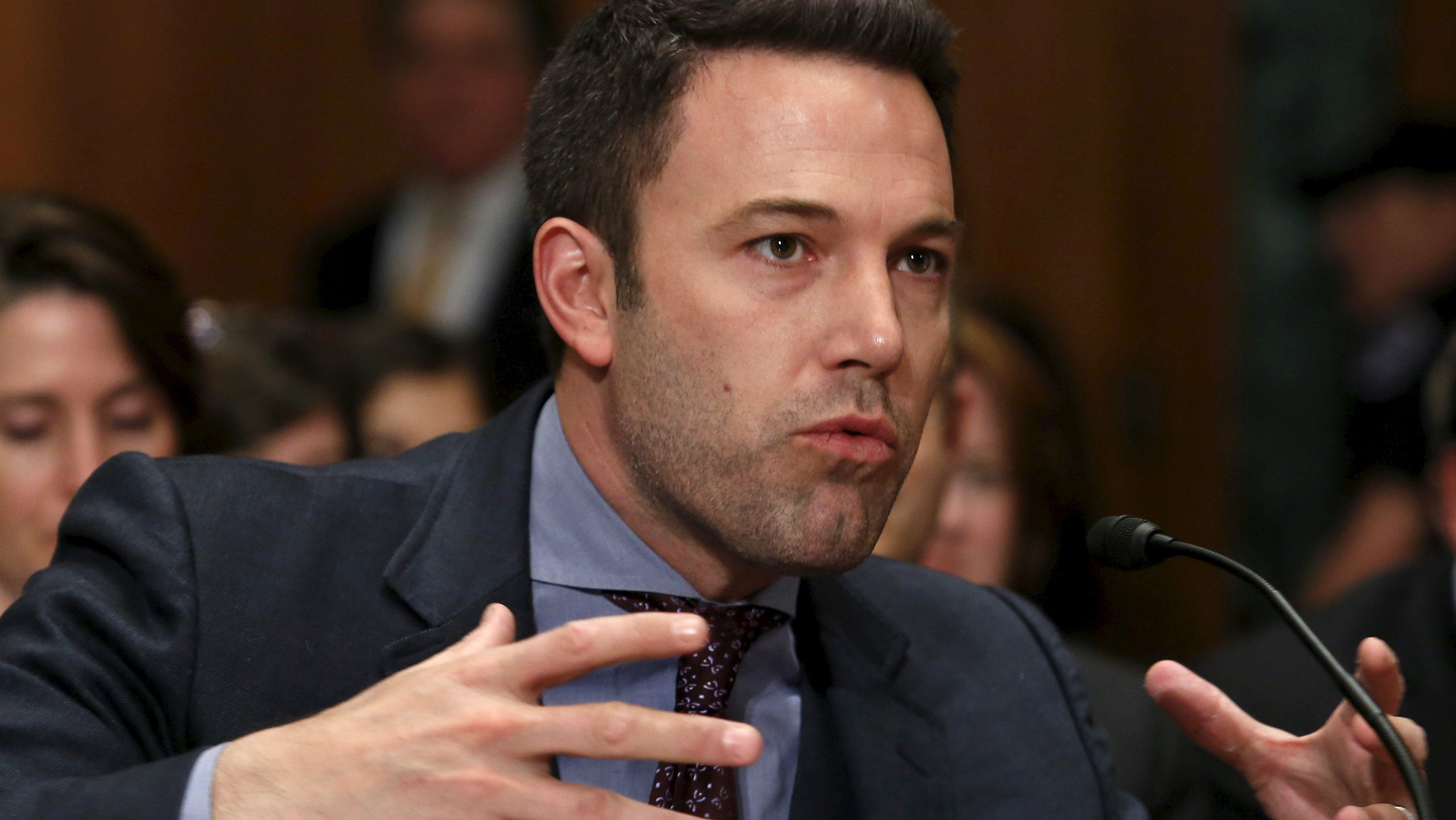"""Ben Affleck, actor, filmmaker and founder of the Eastern Congo Initiative, testifies before a Senate Appropriations State, Foreign Operations and Related Programs Subcommittee hearing on """"Diplomacy, Development, and National Security"""" on Capitol Hill in Washington March 26, 2015. REUTERS/Yuri Gripas"""