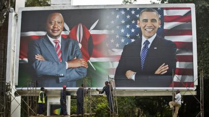 A billboard welcomes Obama to Nairobi.