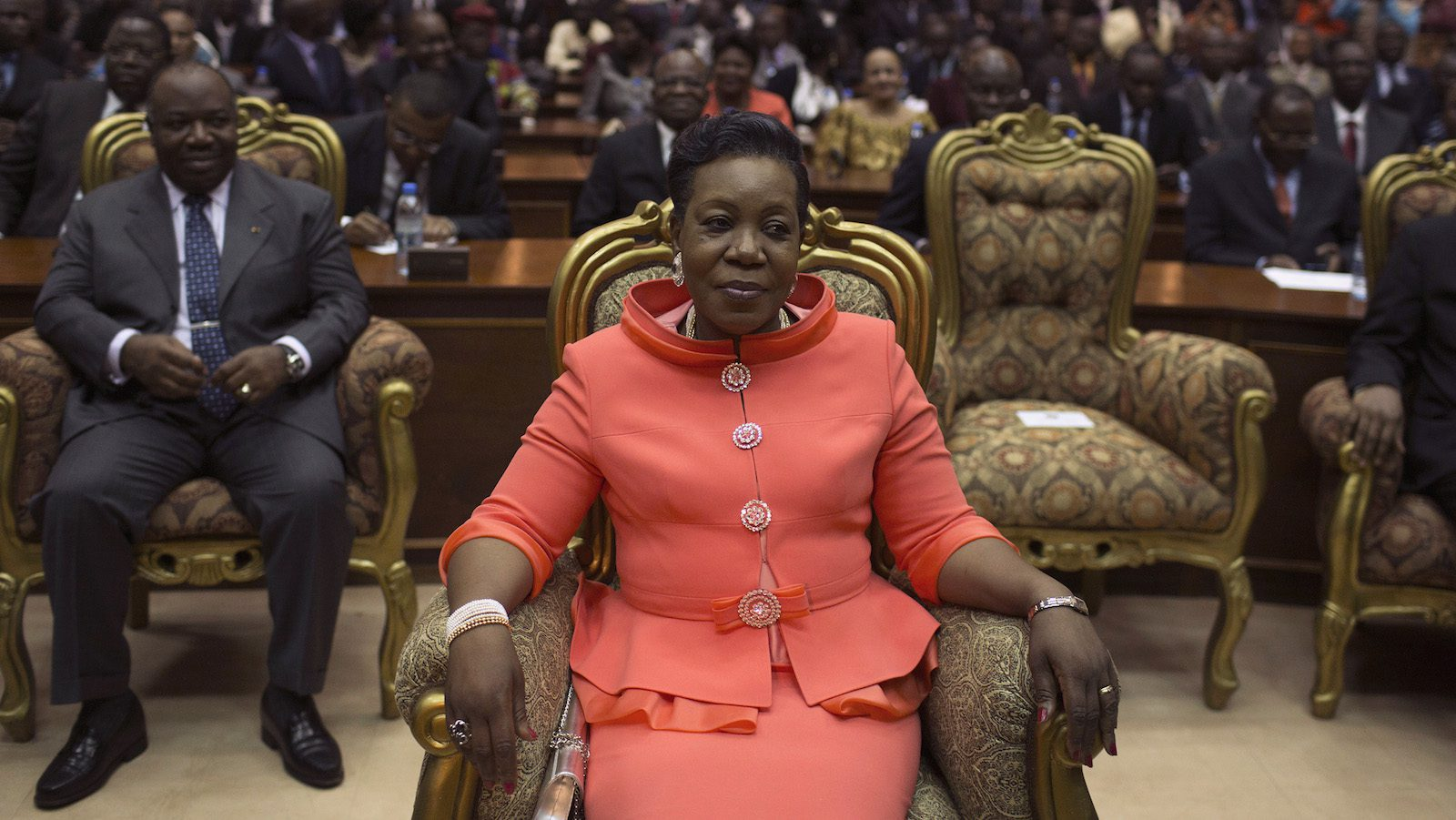 New parliamentary-elected interim President of the Central African Republic Samba-Panza sits prior to her swearing-in ceremony at the National Assembly in the capital Bangui