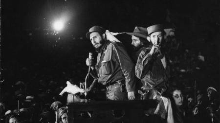 """In this Jan. 8, 1959 file photo, Cuba's revolutionary leader Fidel Castro speaks to supporters at the Batista military base """"Columbia"""" now known as Ciudad Libertad. The Cuban revolution triumphed on Jan. 1, 1959 after dictator Fulgencio Batista fled the country and Fidel Castro and his band of rebels descended from the island's eastern mountains, where they waged a guerrilla war against government troops. Cuba will celebrate on Jan. 1, 2009 the 50th anniversary of the triumph of the revolution."""