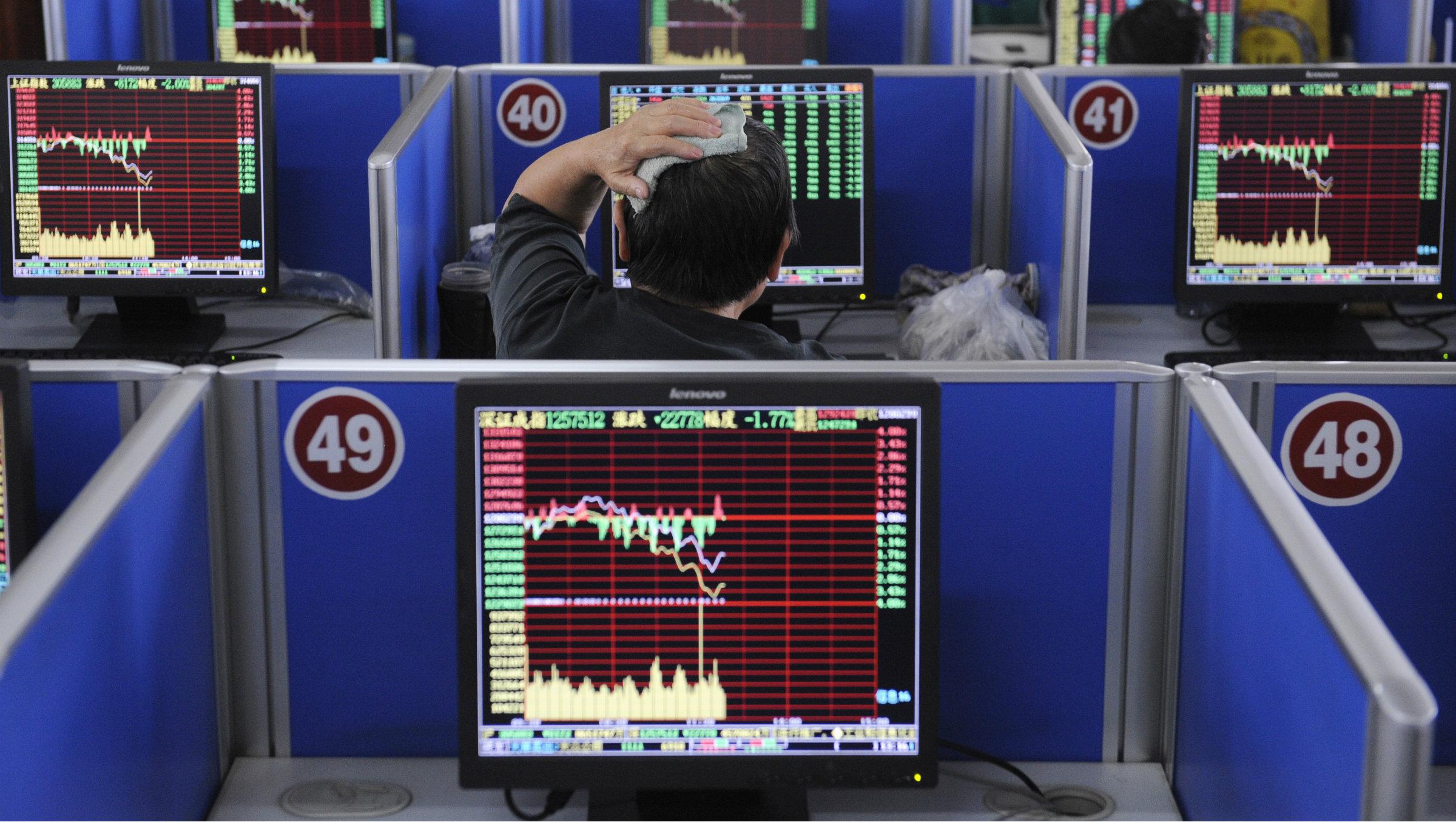China stocks on screen
