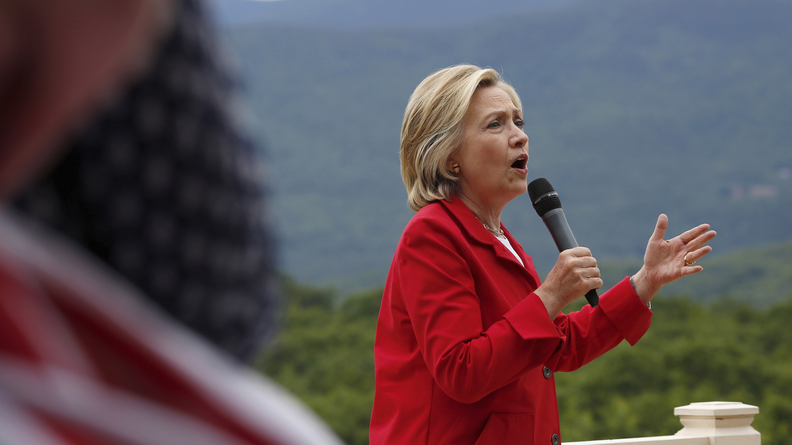 Former US secretary of state and Democratic candidate for president Hillary Clinton warns supporters of an increasingly aggressive China during a campaign event in New Hampshire on July 4, 2015.