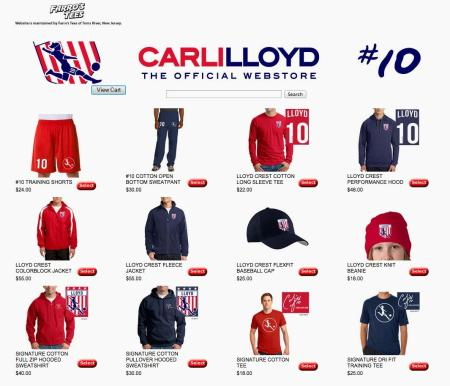 The merchandise page of carlilloyd.com