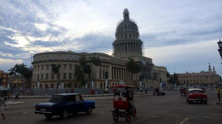 Cuba's national capital building, modeled on its US counterpart, undergoing renovations.