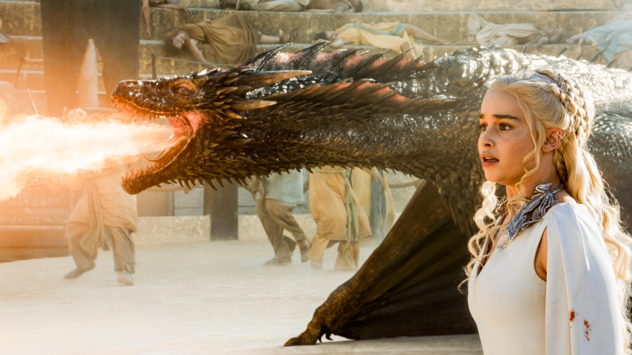 Daenerys and Drogon.