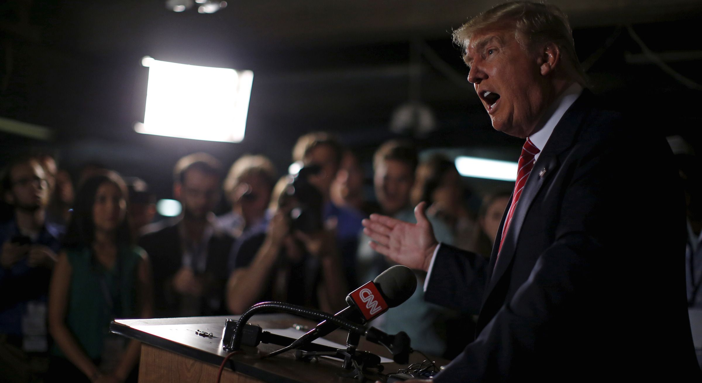 U.S. Republican presidential candidate Donald Trump speaks at a news conference at the Family Leadership Summit in Ames, Iowa, United States, July 18, 2015.