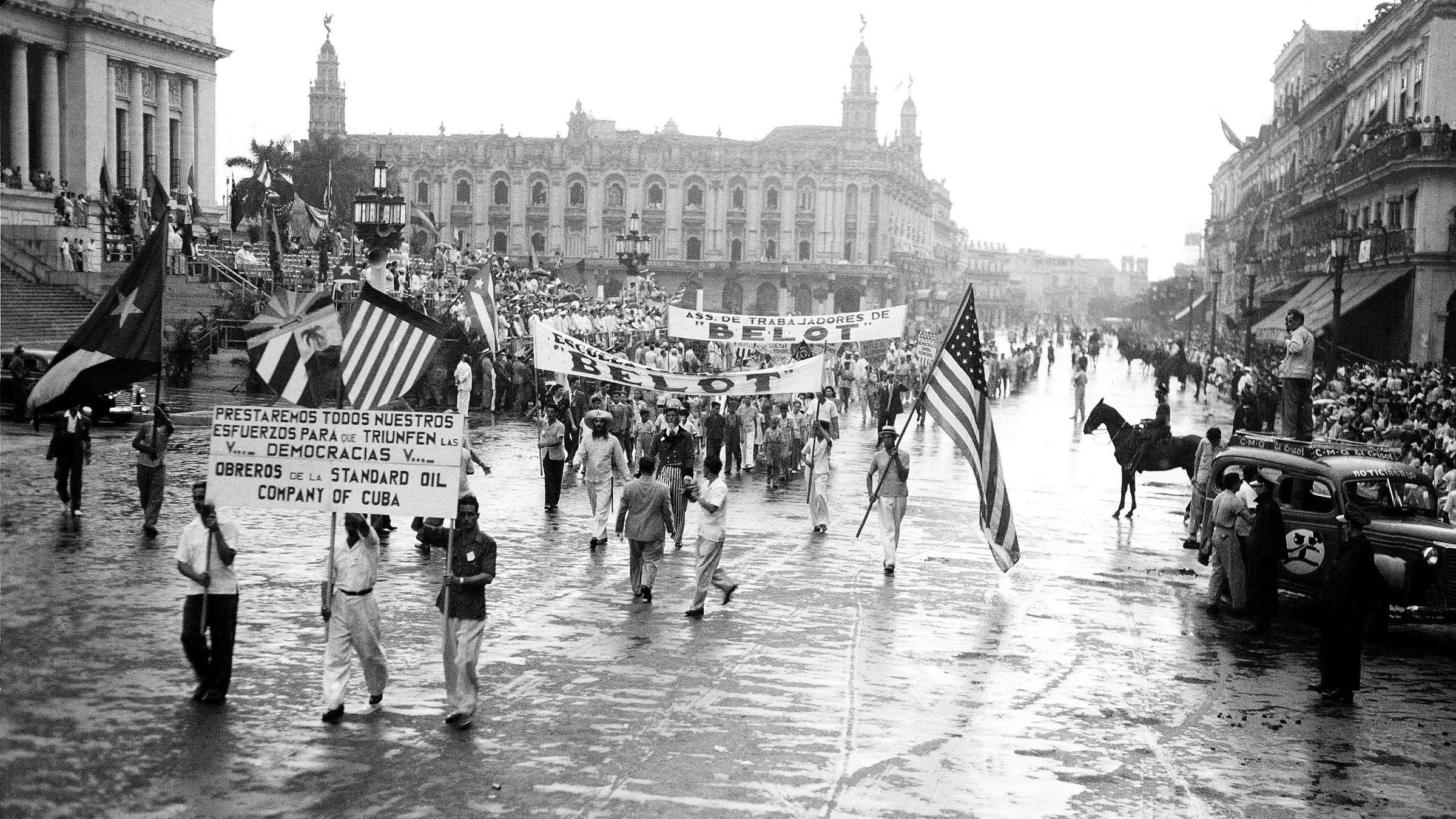 Cuban's parade before the American Ambassador Mr. Spruille Braden and President Fulgencio Batisto in a commemoration of the U.S. Fourth of July, July 4, 1942.