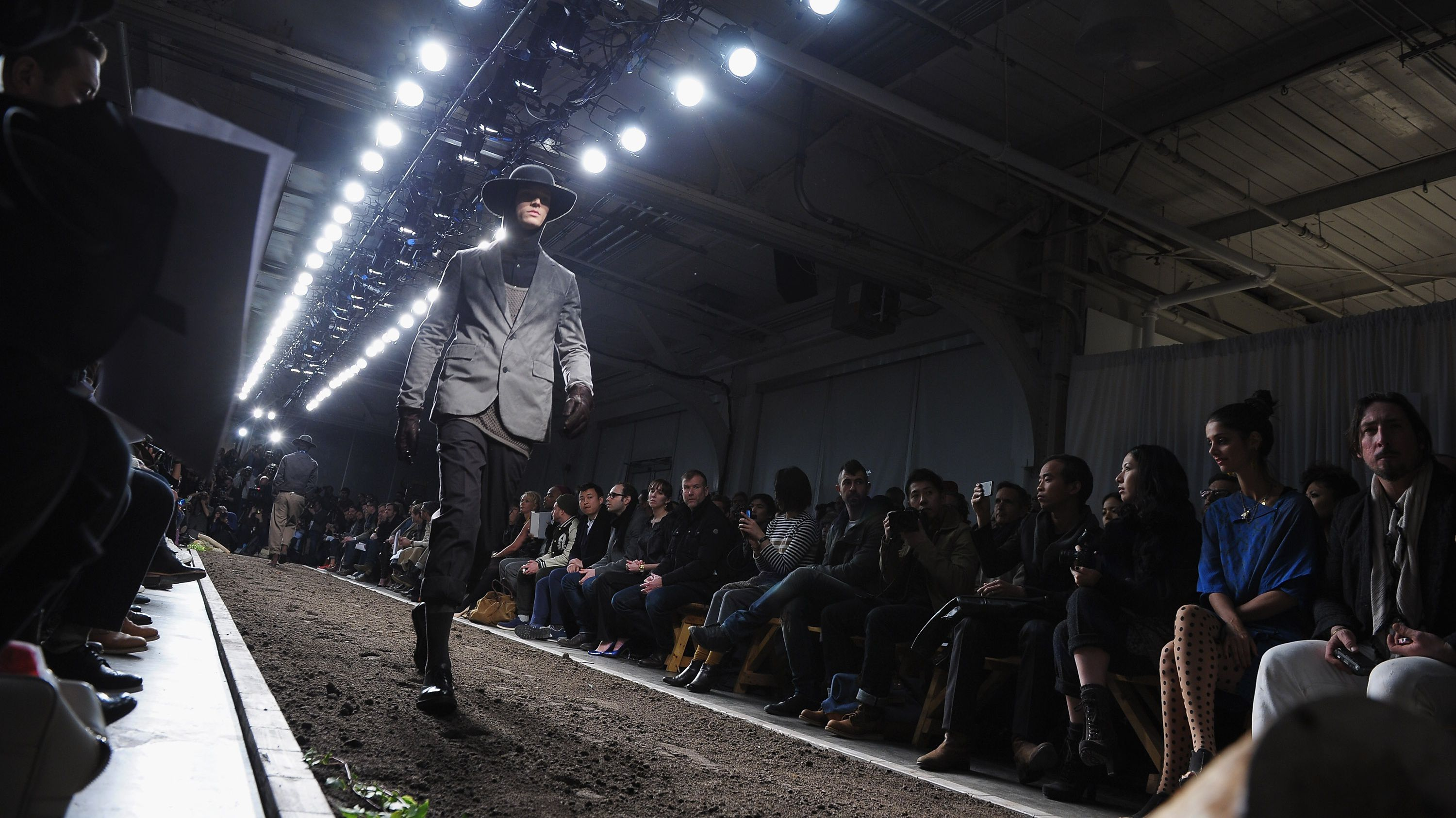 A model walks the runway at the Robert Geller fall 2012 fashion show during Mercedes-Benz Fashion Week at Pier 59 Studios on February 11, 2012 in New York City.