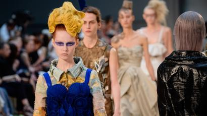 Models walk the runway during the Maison Margiela show as part of Paris Fashion Week Haute Couture Fall/Winter 2015/2016 on July 8, 2015 in Paris, France.