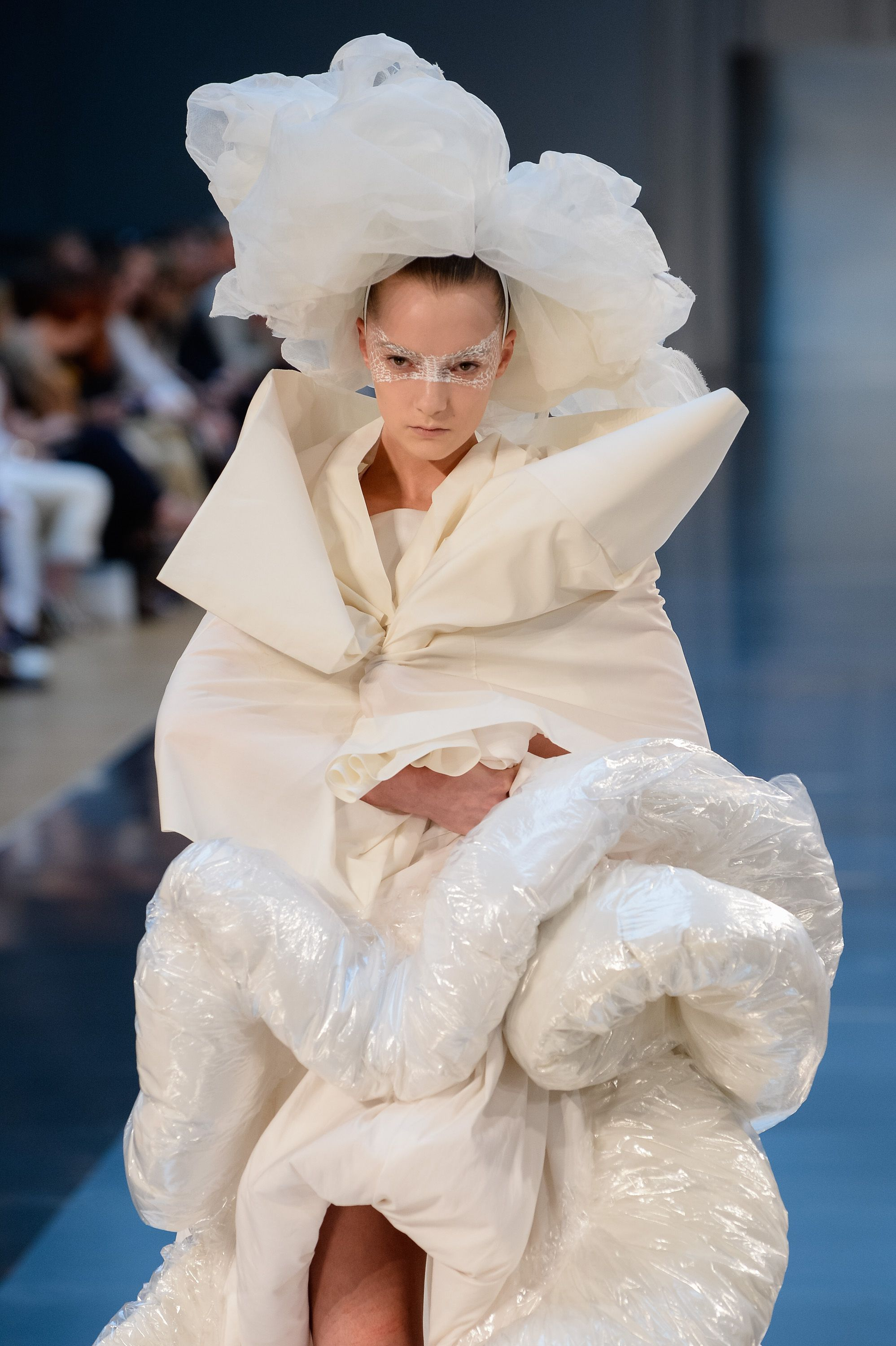 A model walks the runway during the Maison Margiela show as part of Paris Fashion Week Haute Couture Fall/Winter 2015/2016 on July 8, 2015 in Paris, France.