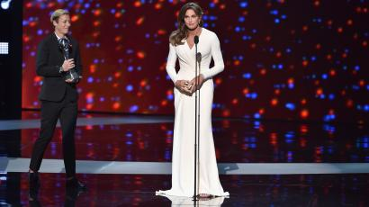 Honoree Caitlyn Jenner (R) accepts the Arthur Ashe Courage Award from professional soccer player Abby Wambach onstage during The 2015 ESPYS at Microsoft Theater on July 15, 2015 in Los Angeles, California.