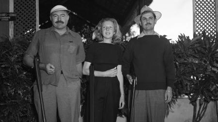 Author Ernest Hemingway, left, is shown with his wife Martha Gellhorn and Elicio Arguelles at a live pigeon shoot in Havana, Cuba, Feb. 9, 1942.
