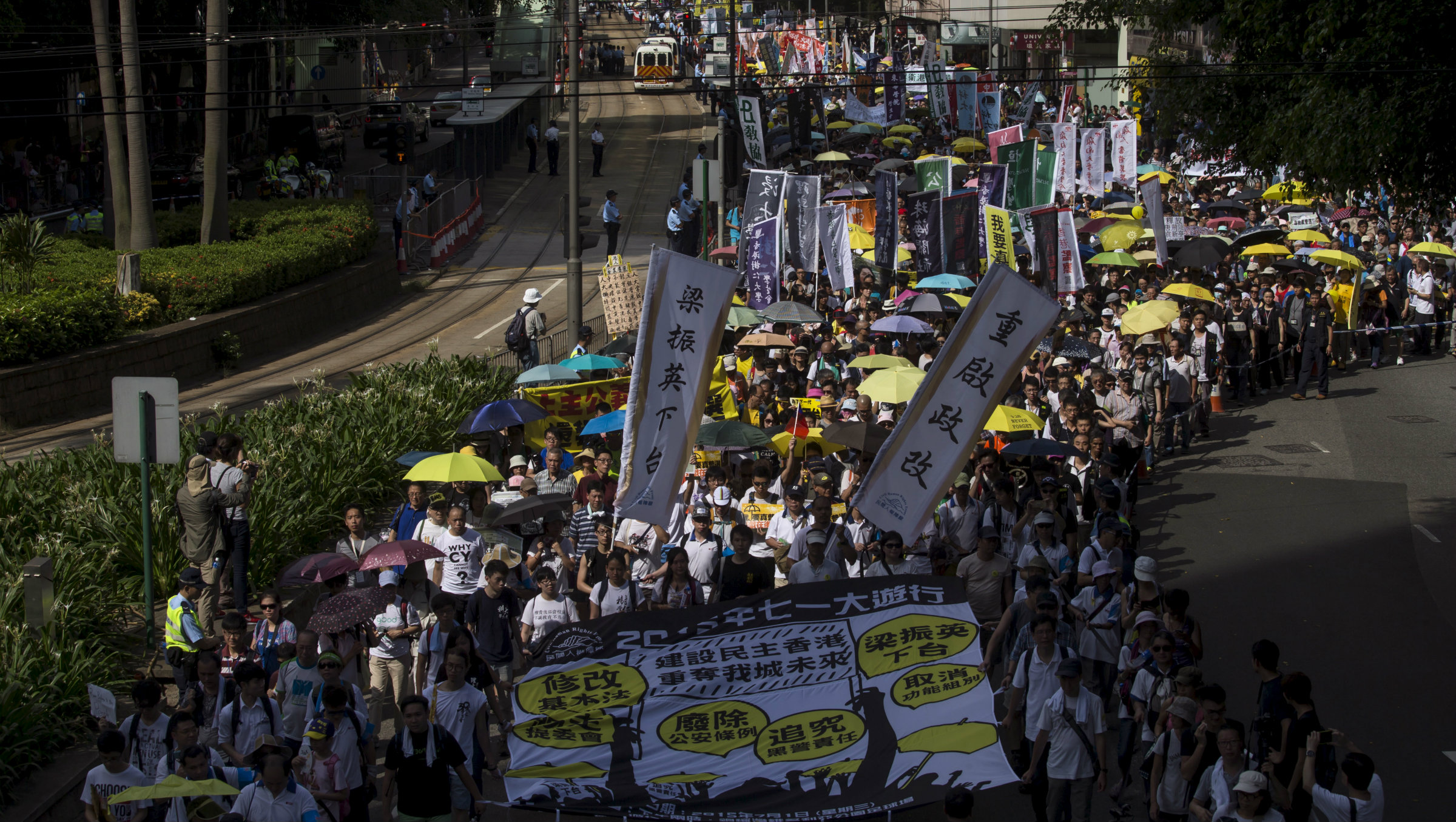 Pro-democracy marchers in Hong Kong on July 1.